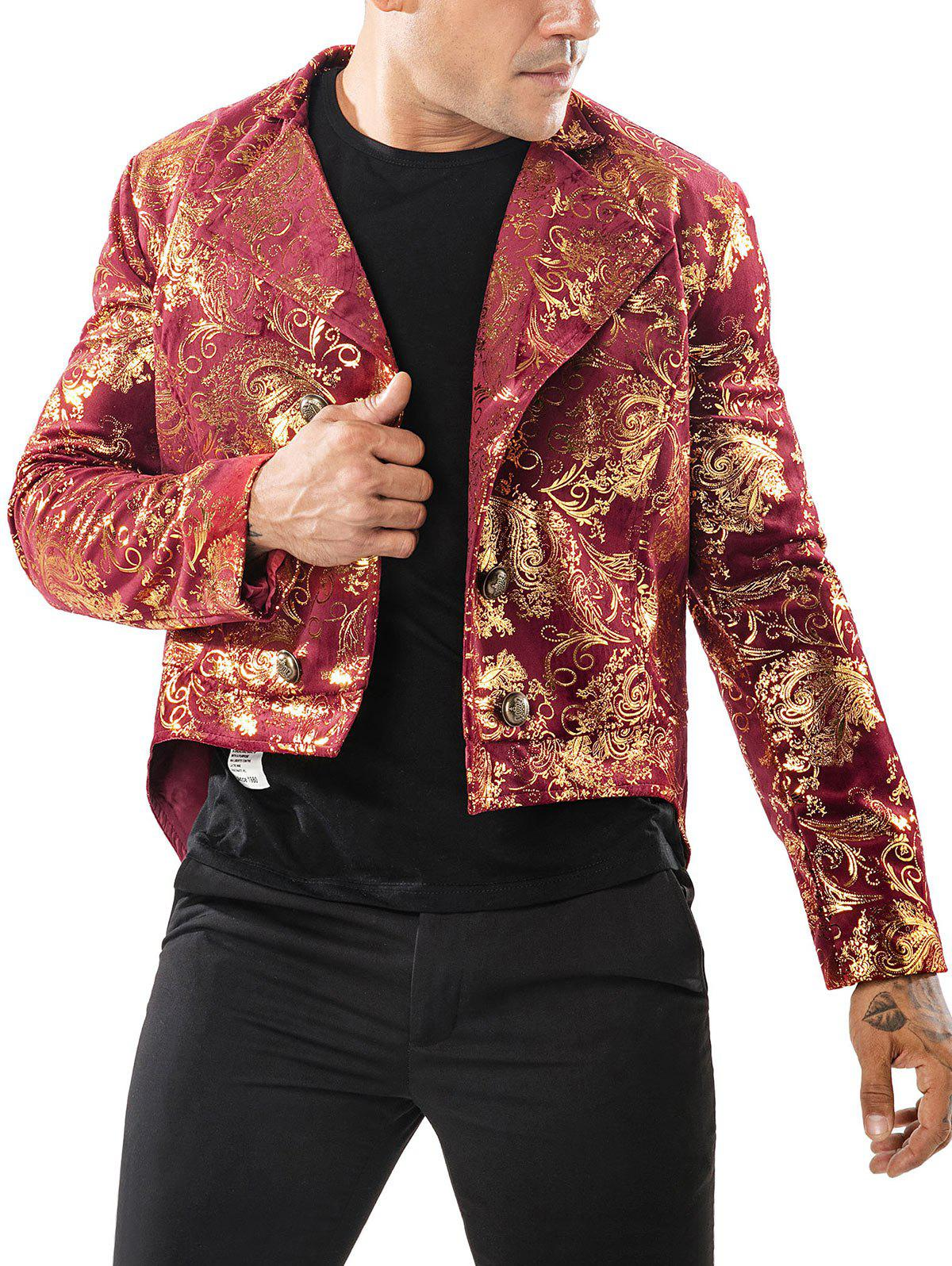Online Gold Stamping Slim Fit Swallow-tailed Blazer