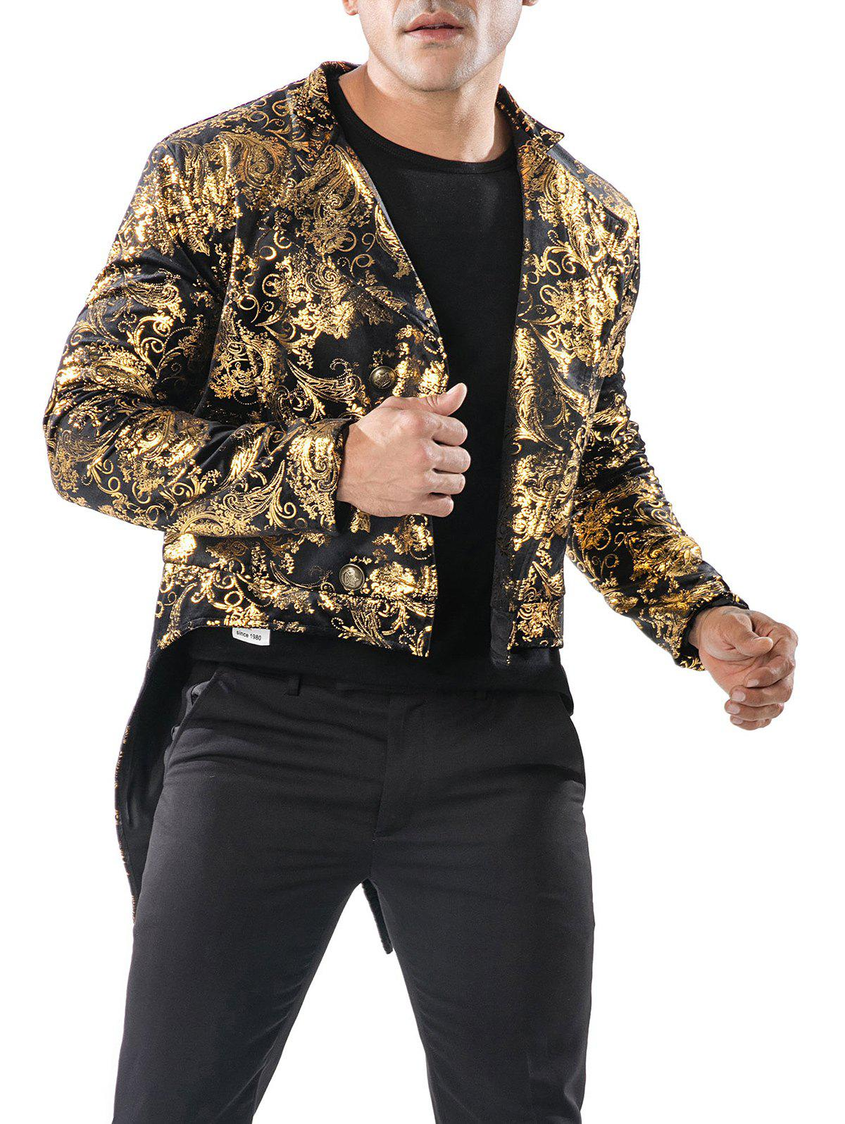 Store Gold Stamping Slim Fit Swallow-tailed Blazer