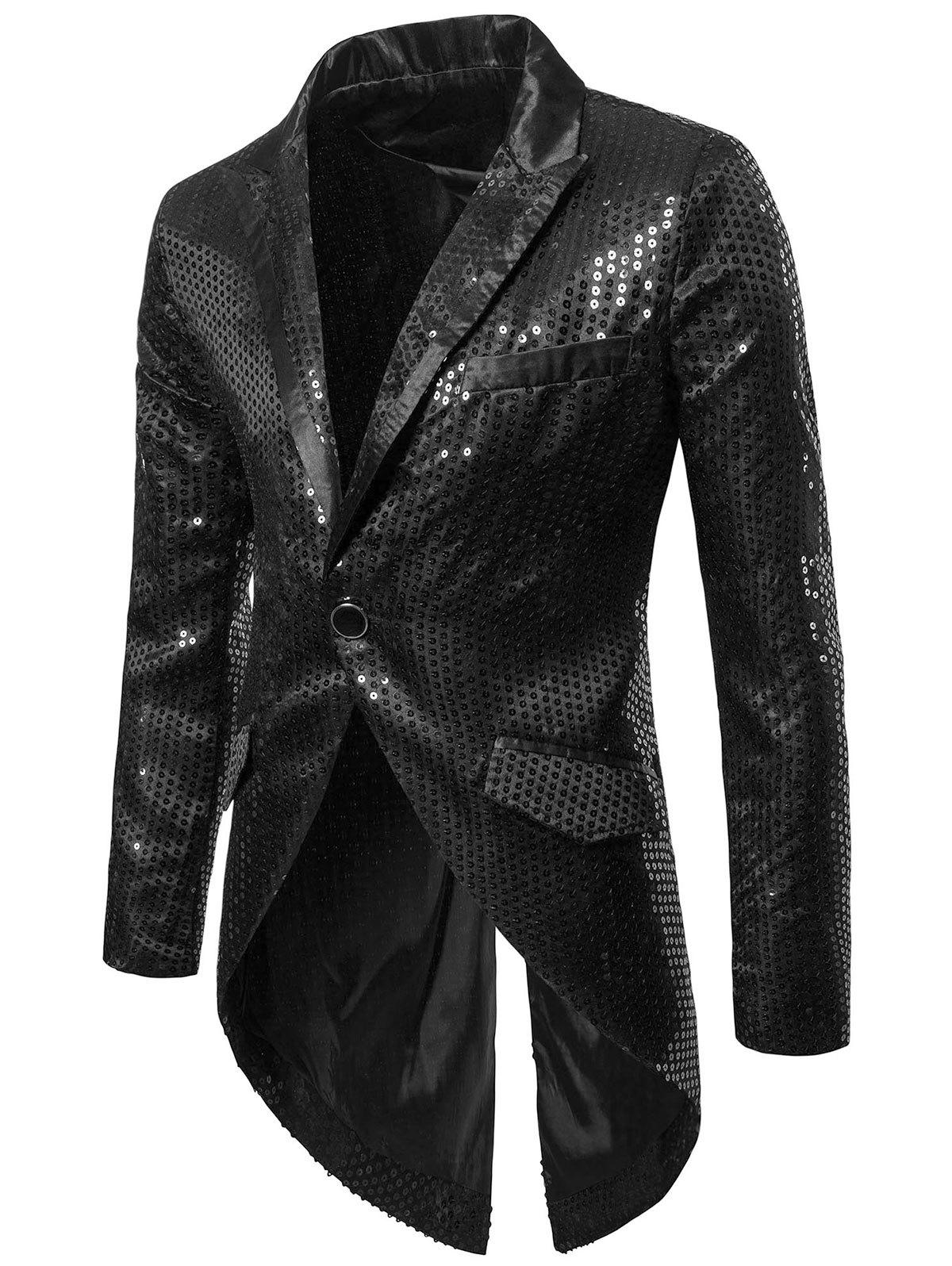 New Faux Pocket Allover Paillette Embellished Swallow-tailed Blazer