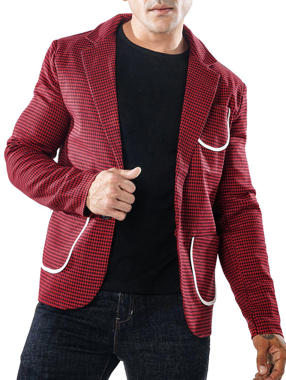 Hot Single Button Bordure Pocket Houndstooth Blazer