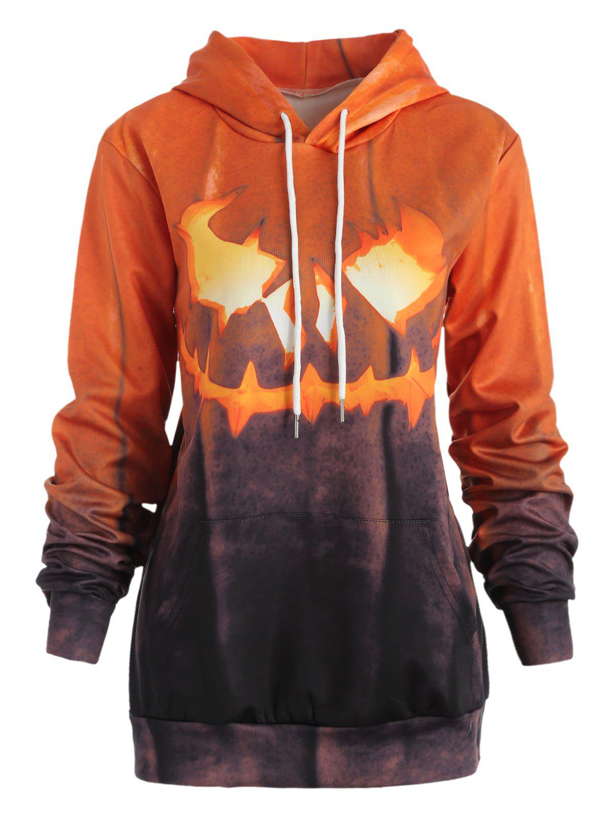 Latest Halloween Ablaze Pumpkin Print Drawstring Sweatshirt