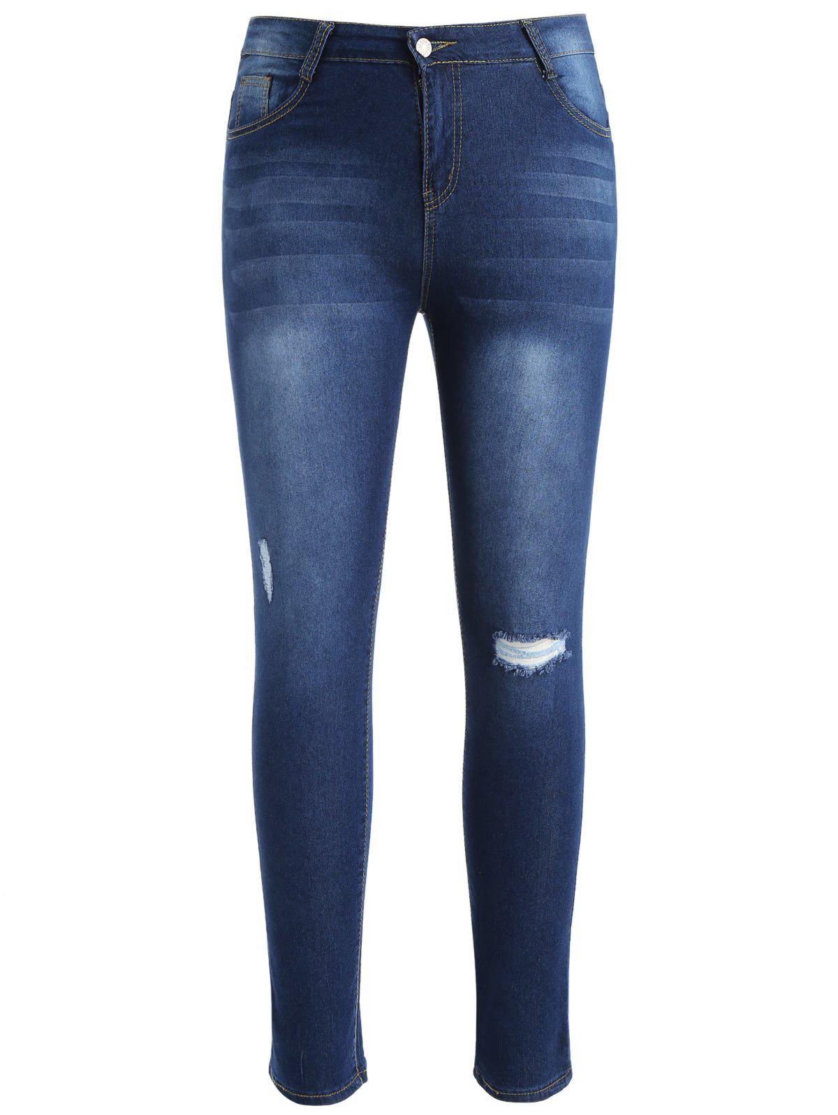 Unique Plus Size Skinny Ninth Ripped Jeans