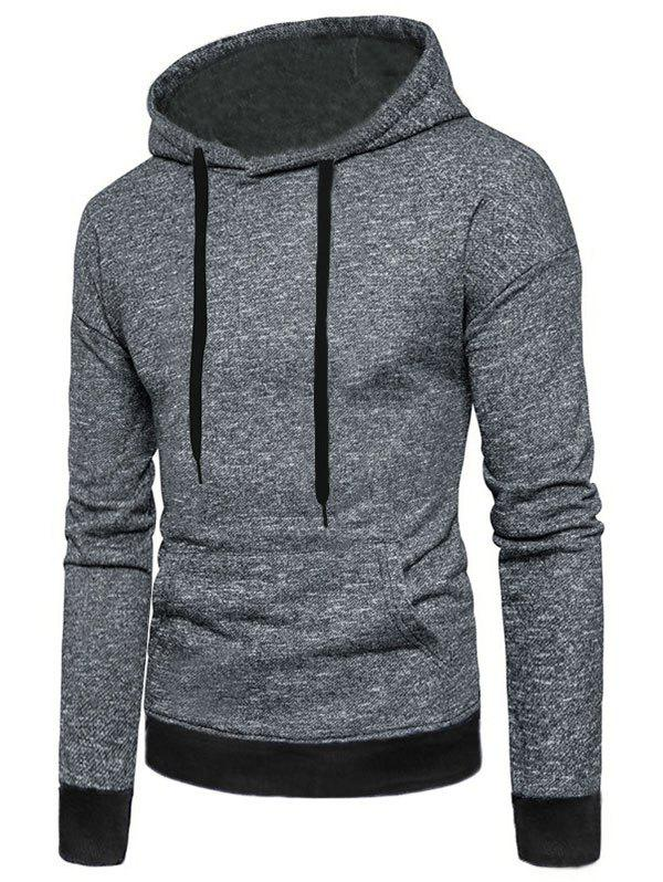 f2b713821 54% OFF   2019 Two Tone Textured Print Kangaroo Pocket Fleece Hoodie ...