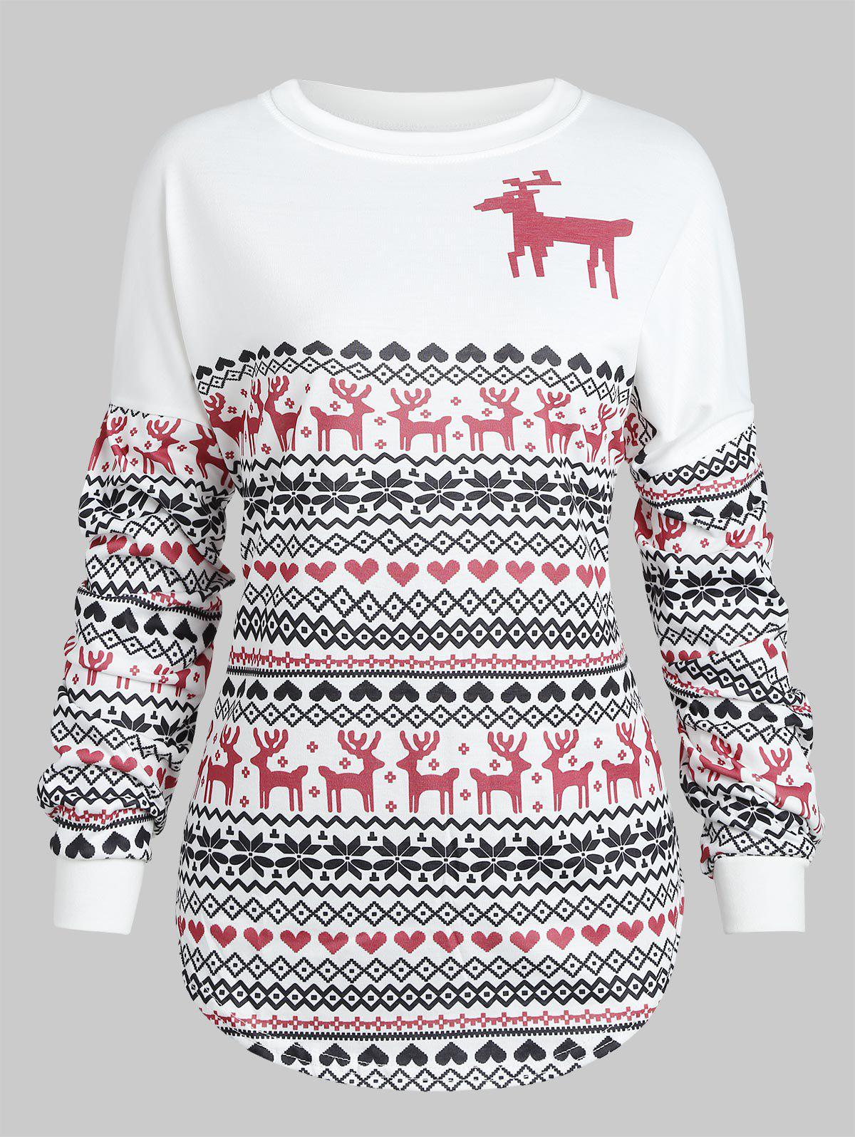 New Christmas Deer Print Drop Shoulder Sweatshirt
