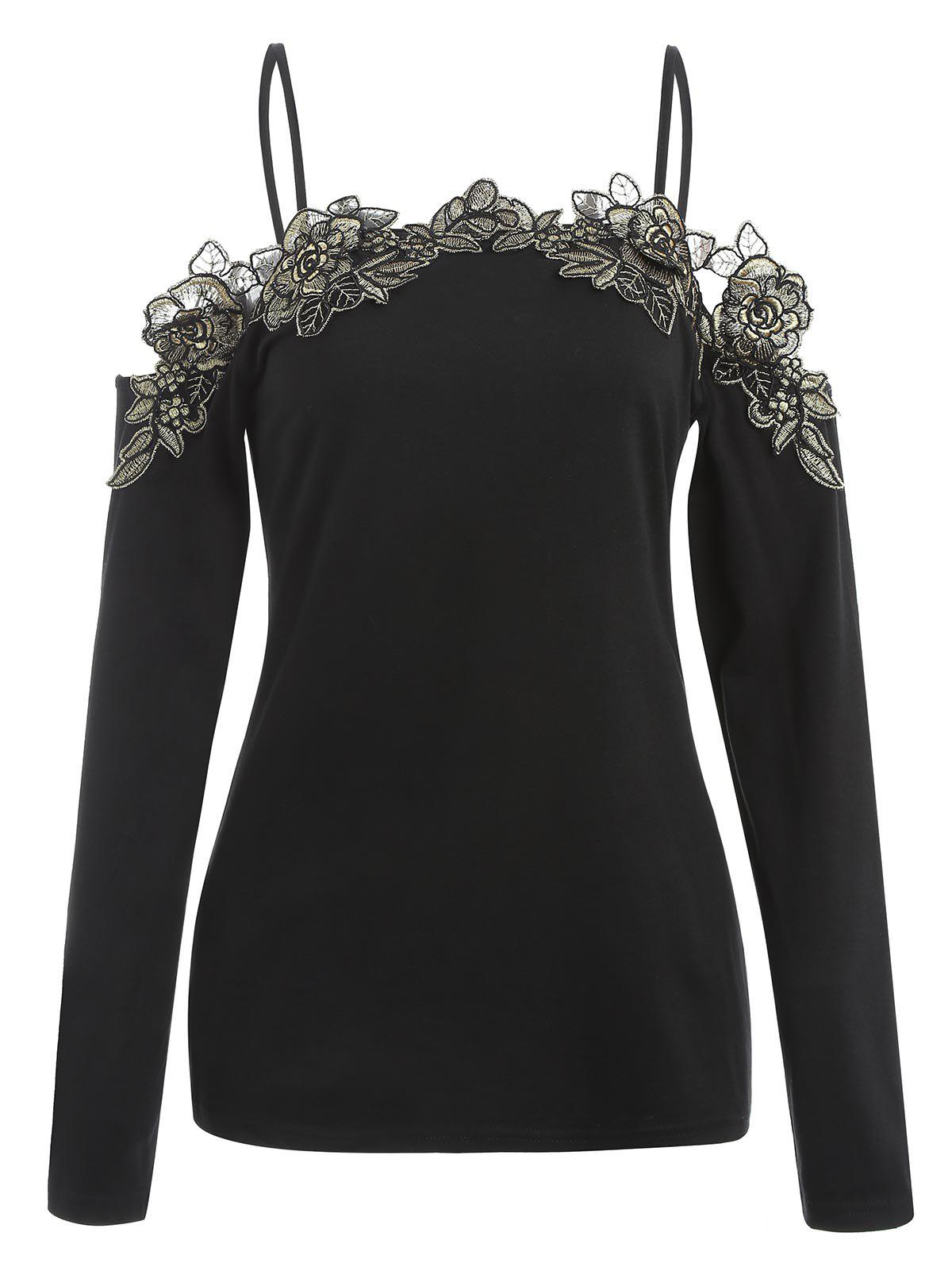 Online Lace Applique Cold Shoulder Full Sleeve T-shirt