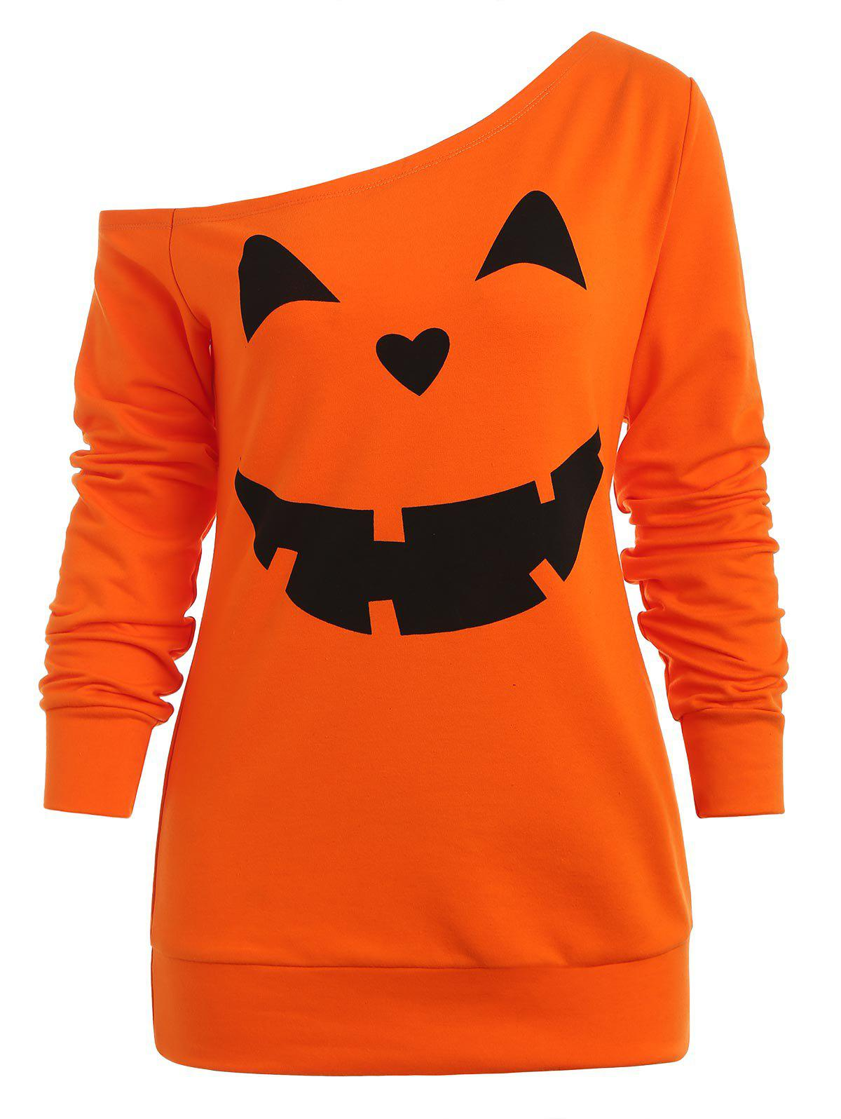 Sweat-shirt d'Halloween Citrouille Imprimé à Manches Raglan
