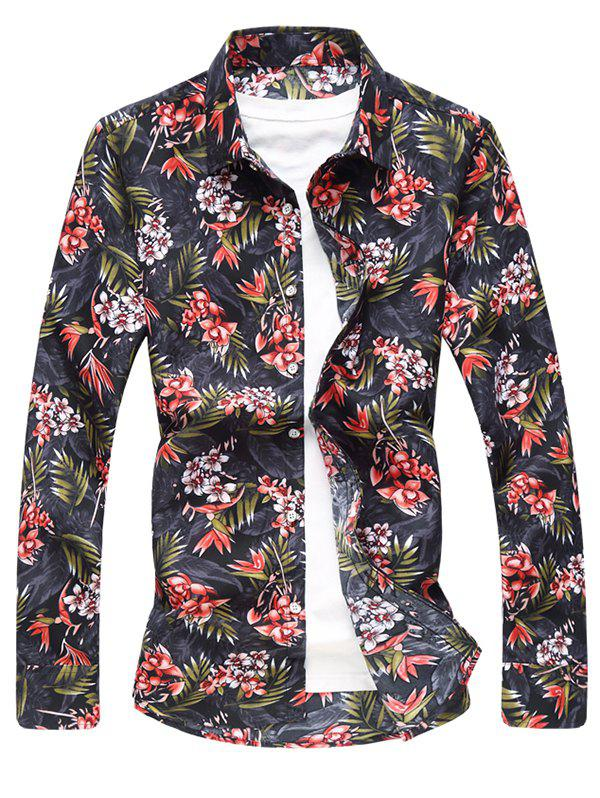 Trendy Flower and Leaves Print Casual Shirt