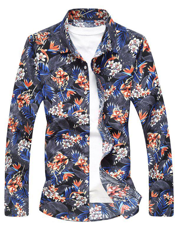 Hot Flower and Leaves Print Casual Shirt