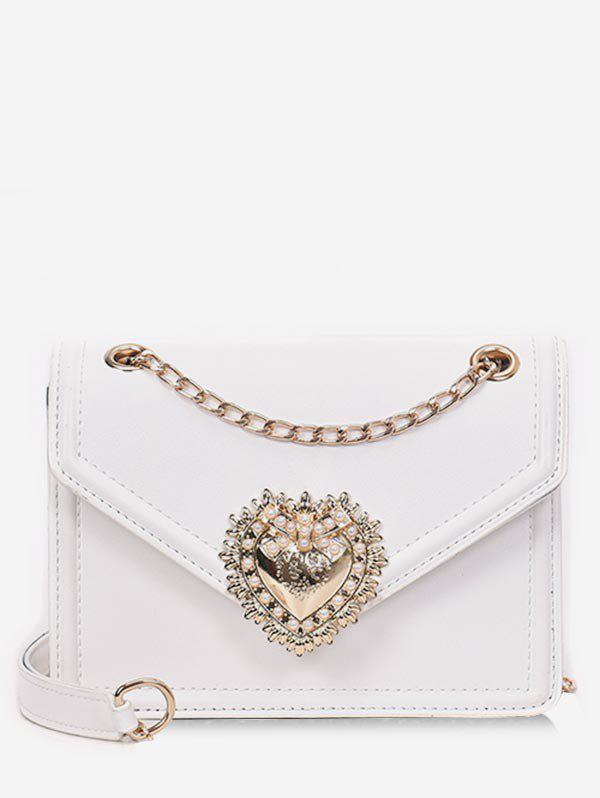 Outfits PU Leather Faux Pearl Chain Crossbody Bag