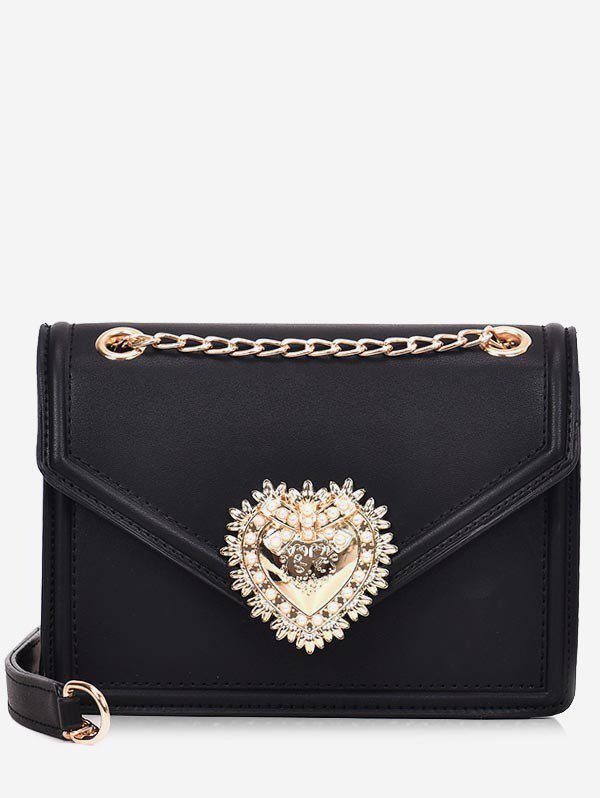 Discount PU Leather Faux Pearl Chain Crossbody Bag