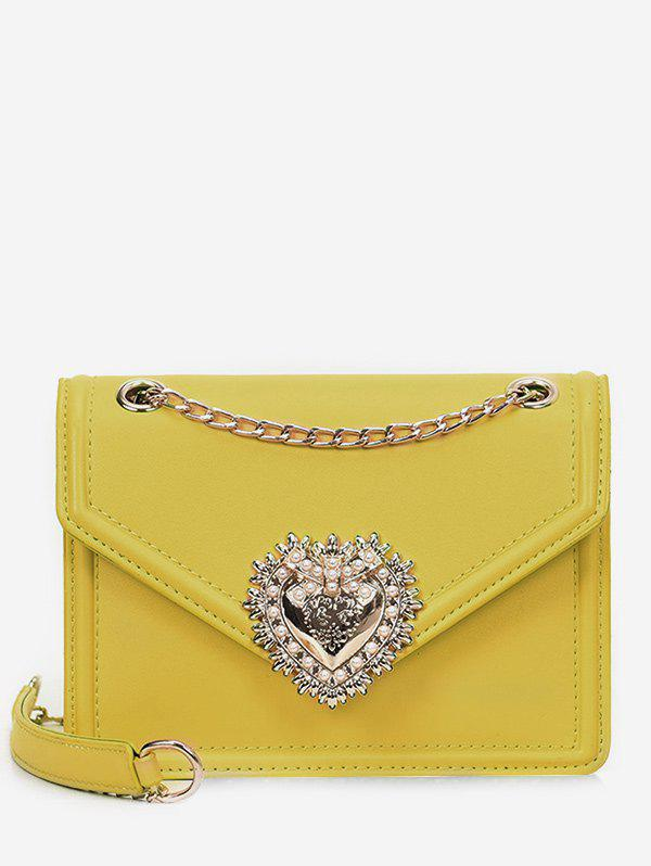 Fashion PU Leather Faux Pearl Chain Crossbody Bag