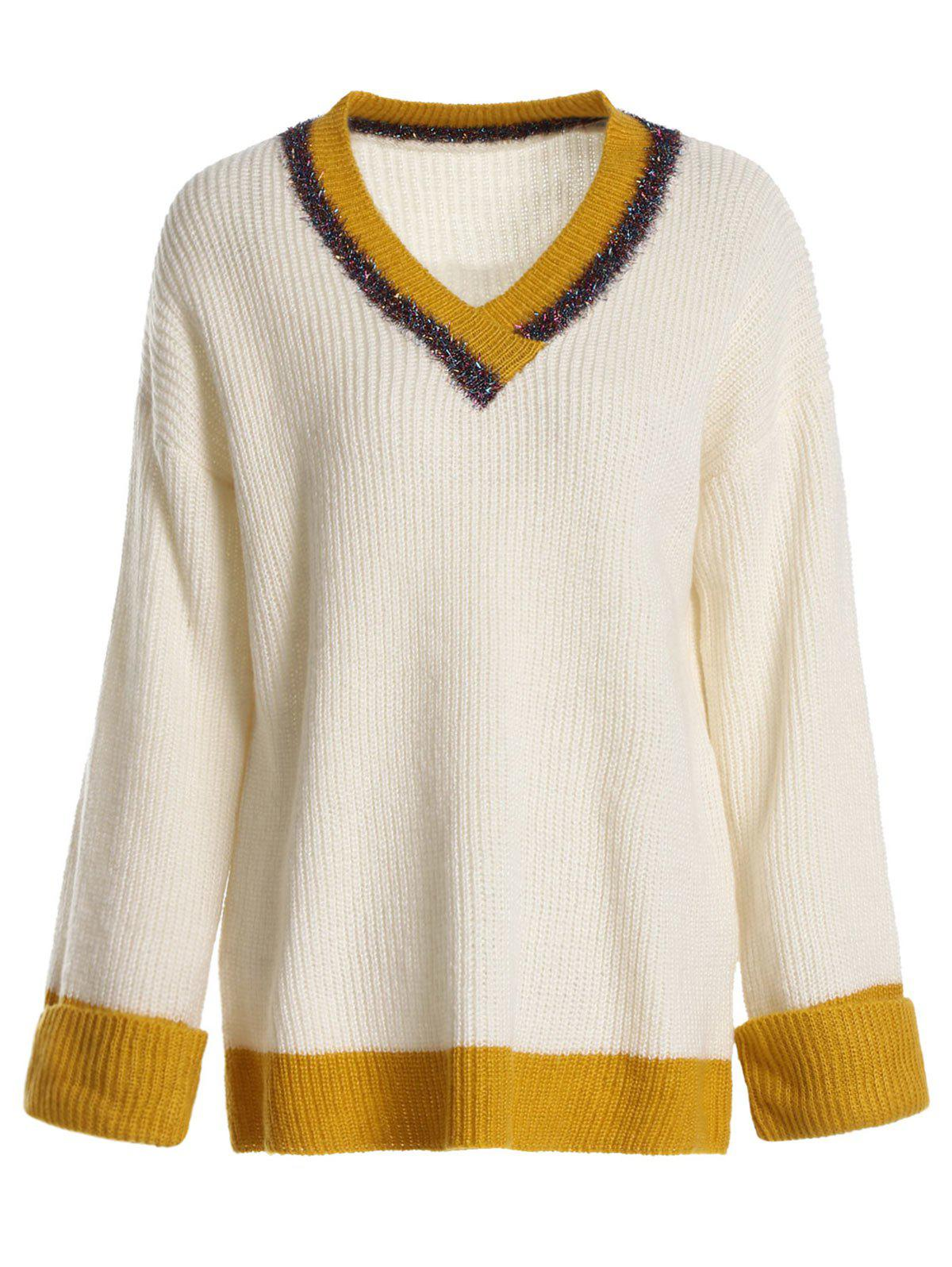 Discount Color Block Cricket Sweater