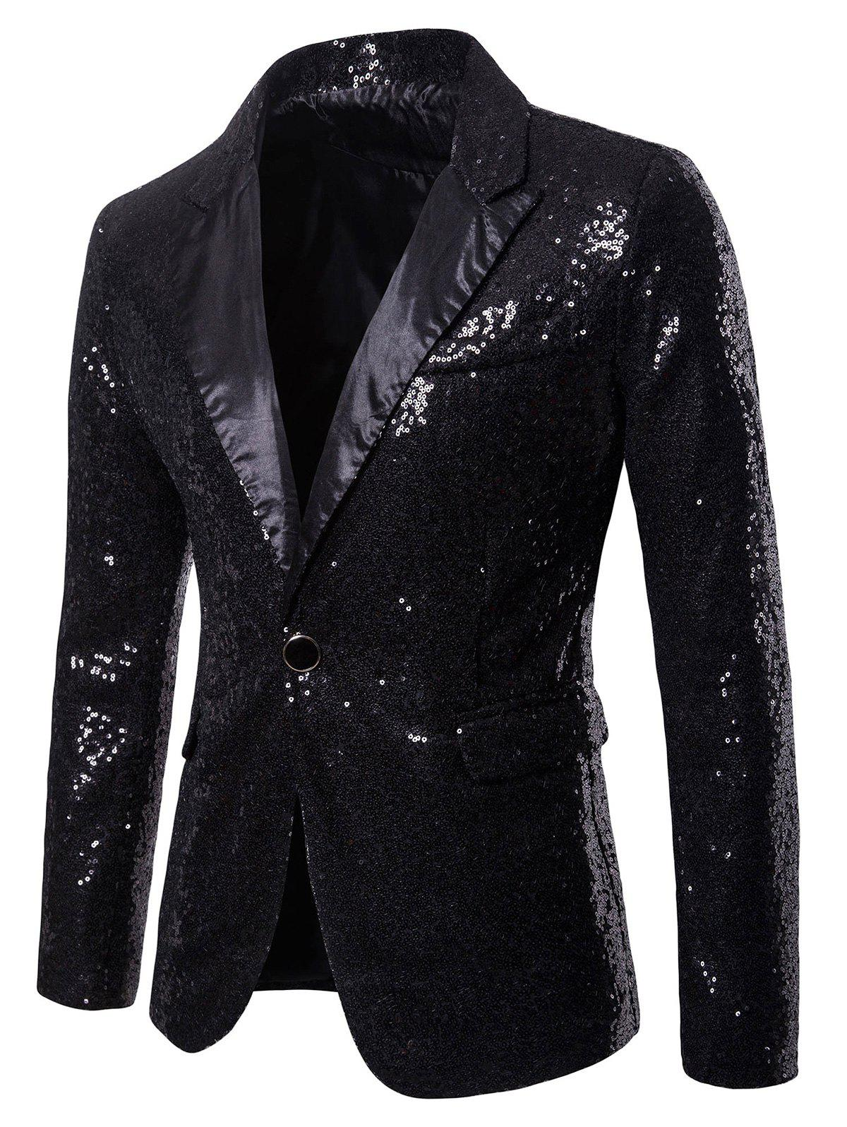 Outfit Custom One Button Pockets Sequin Blazer