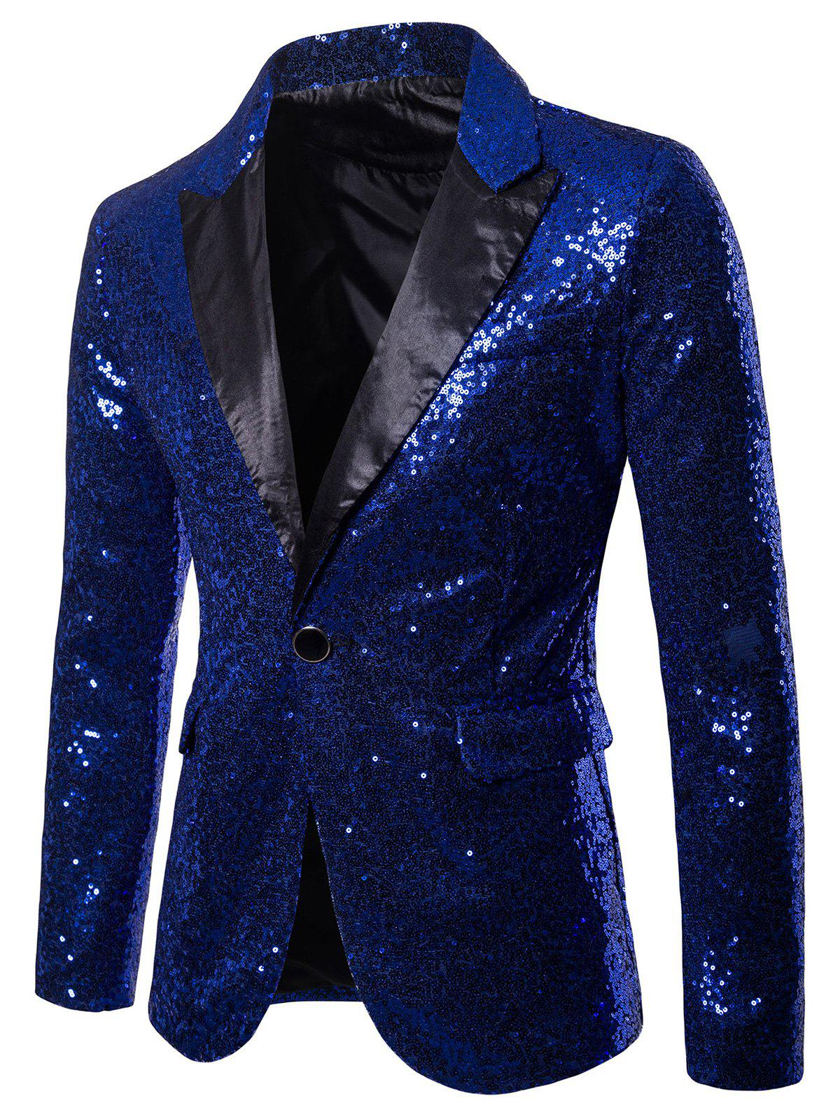 Unique Custom One Button Pockets Sequin Blazer