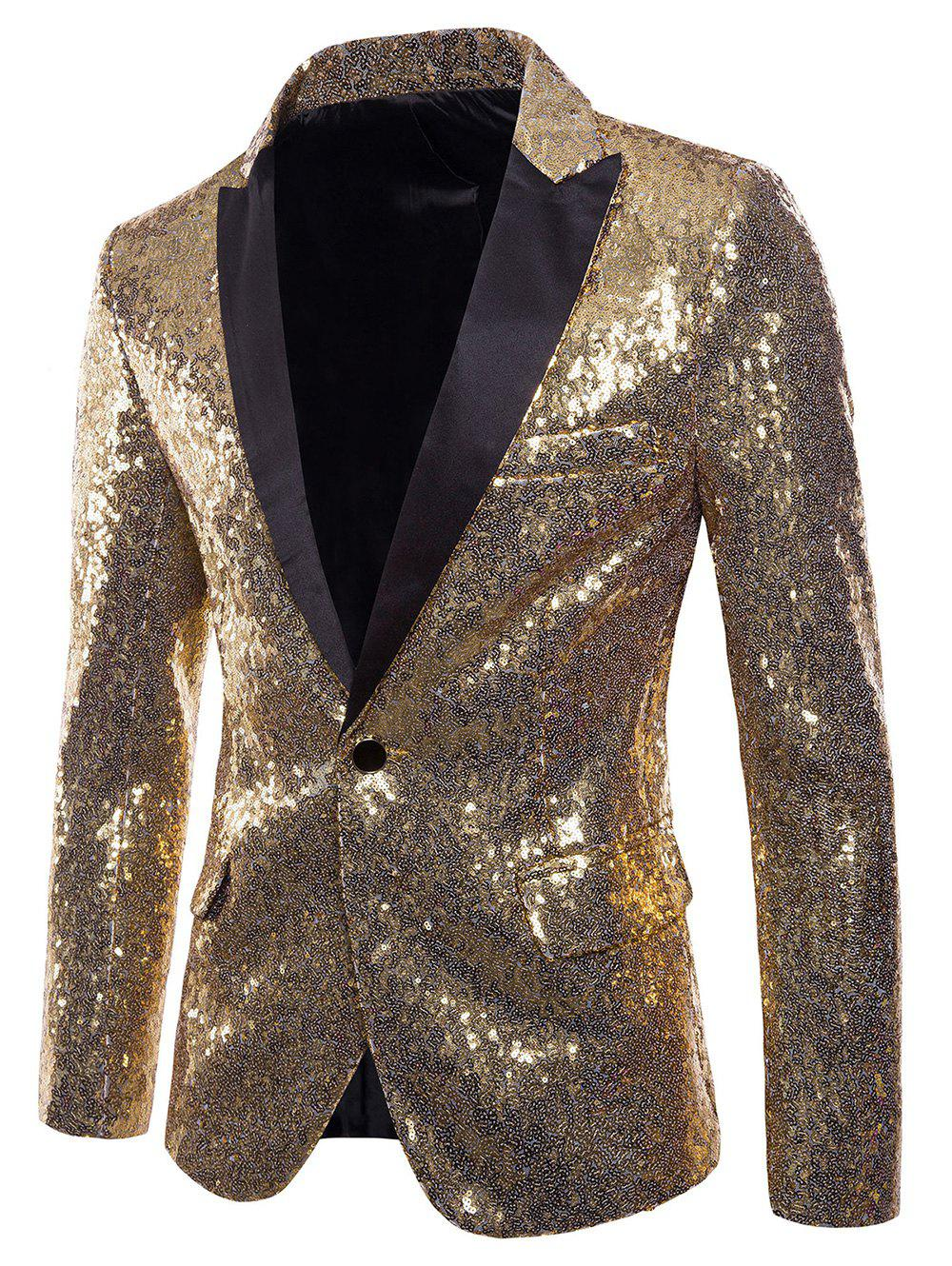 Affordable Custom One Button Pockets Sequin Blazer