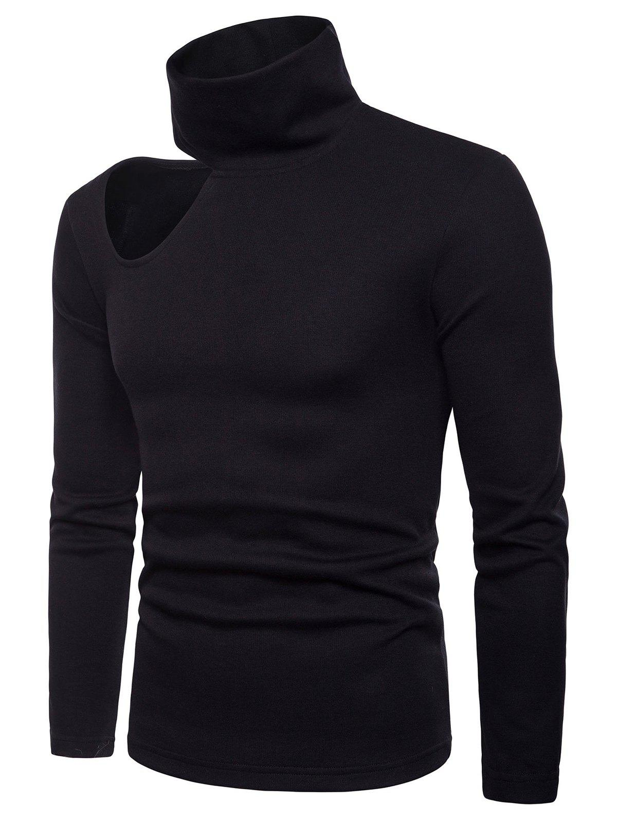Latest Side Off Shoulder Turtle Collar Sweater