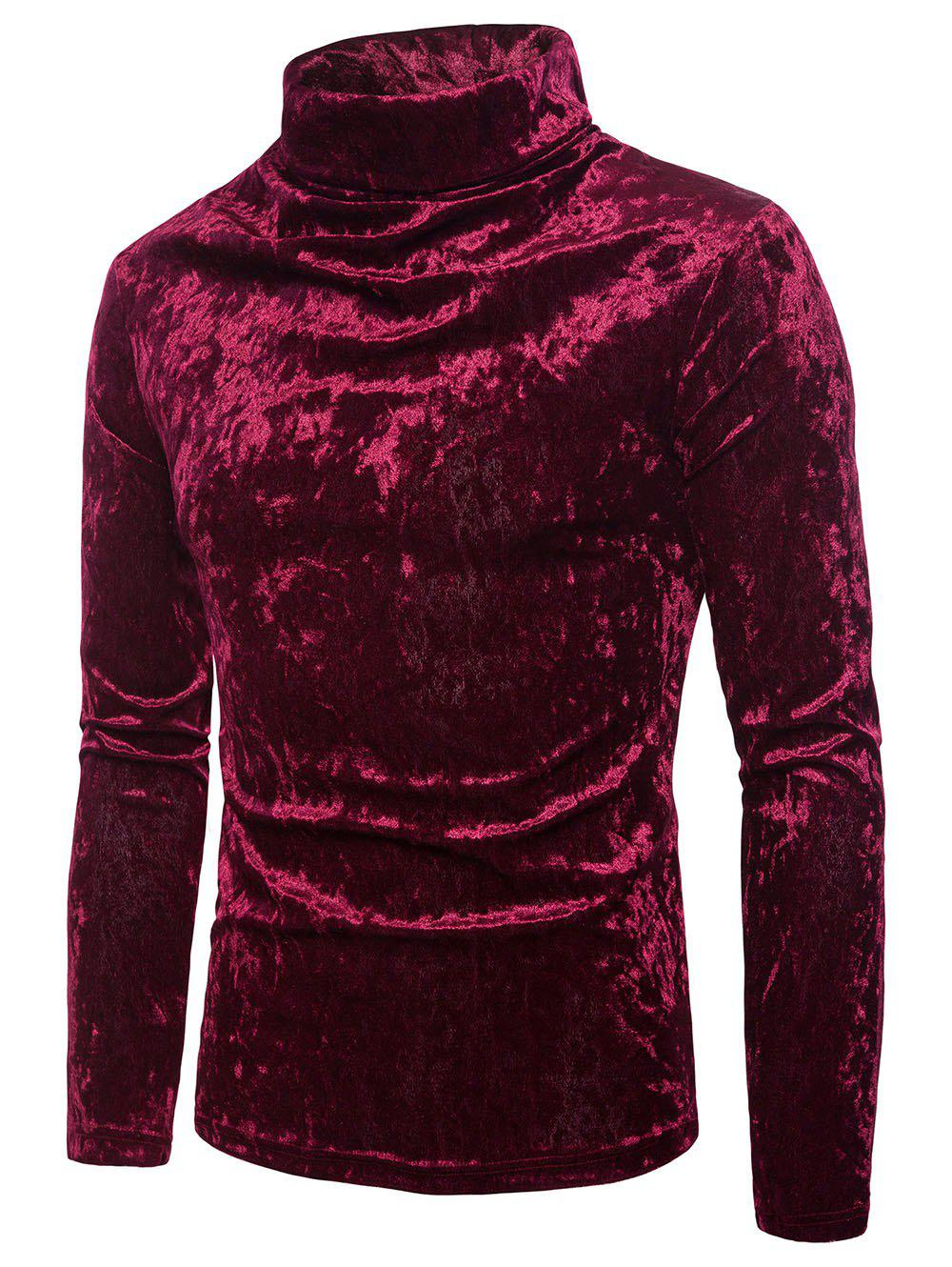 Cheap Turtleneck Solid Coral Fleece Pullover Sweatshirt