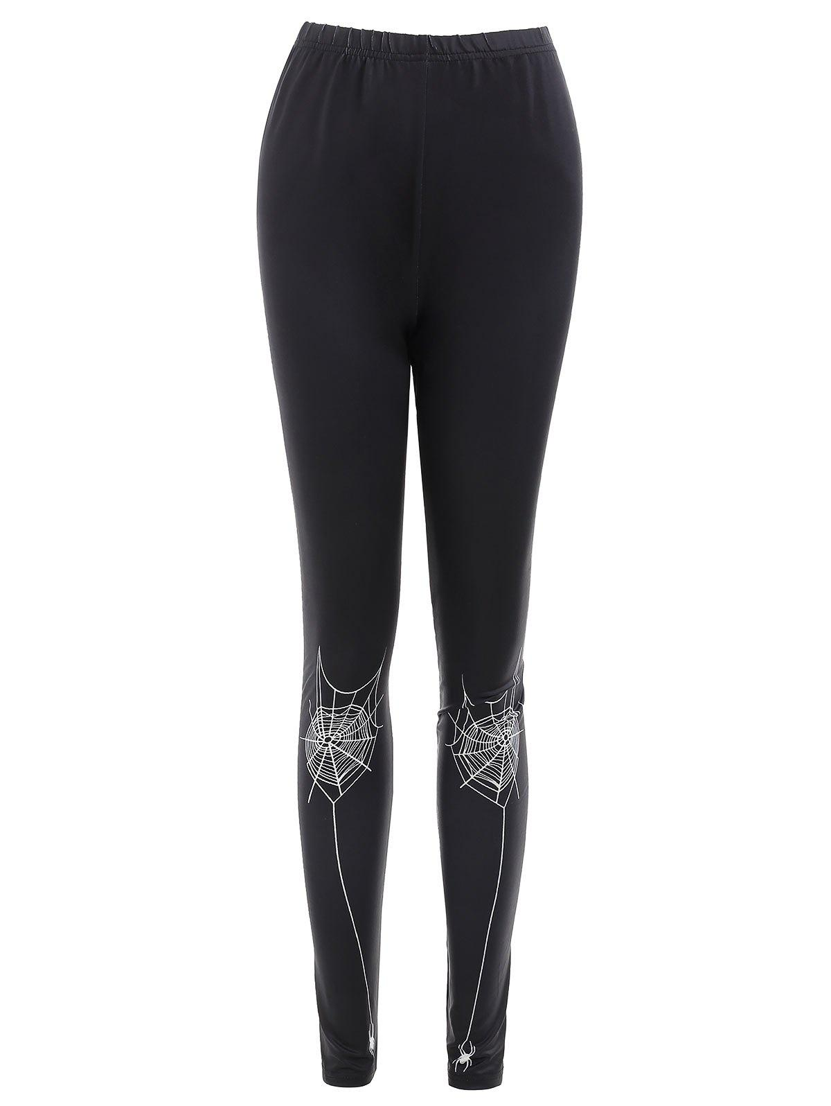 Discount Spider Web Print Slim Fit Leggings