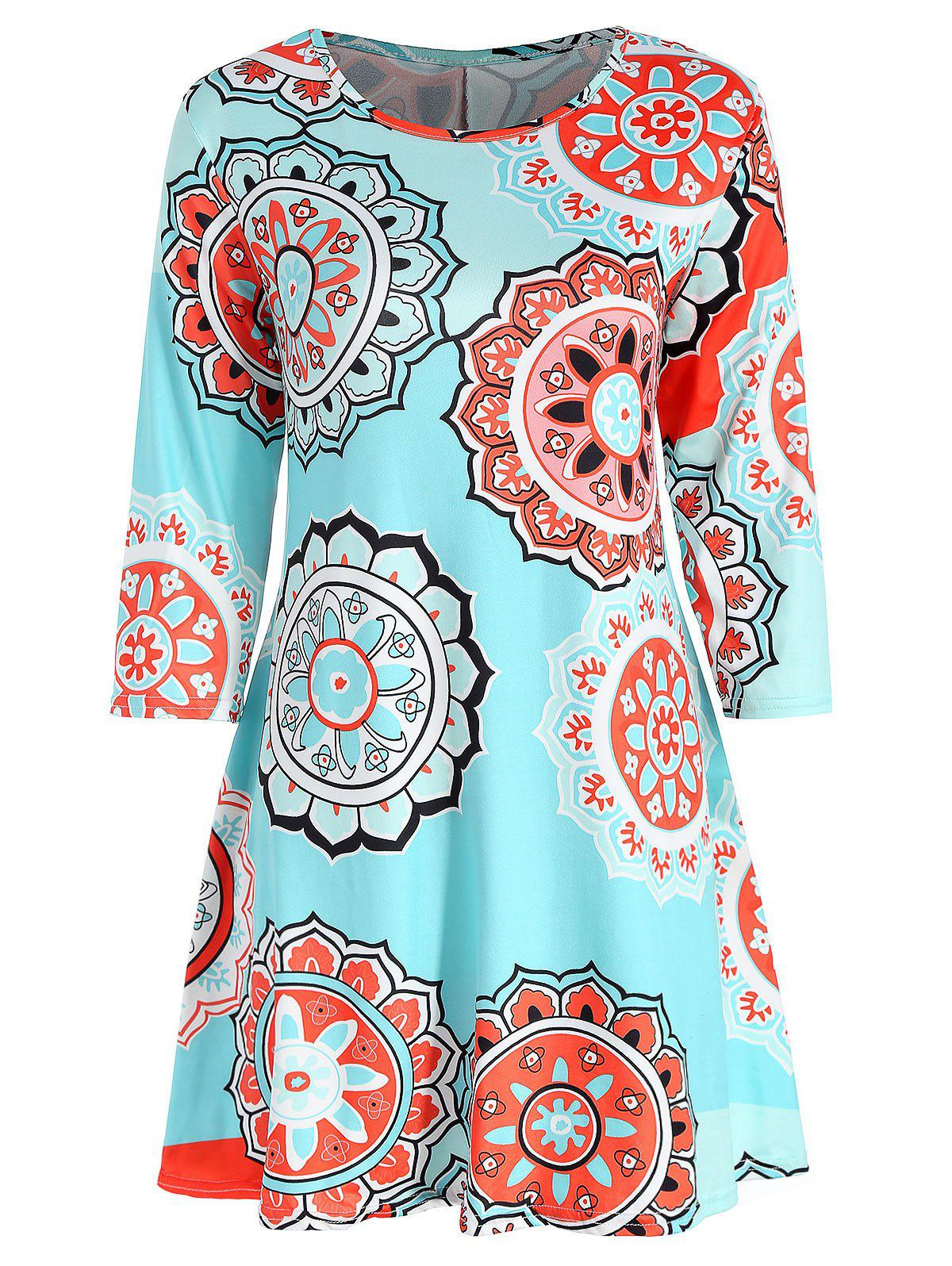 Affordable Three Quarter Sleeve Print Dress