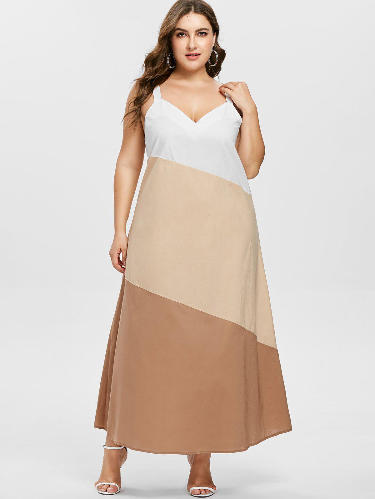 Shop Plus Size V Neck Contrast Dress