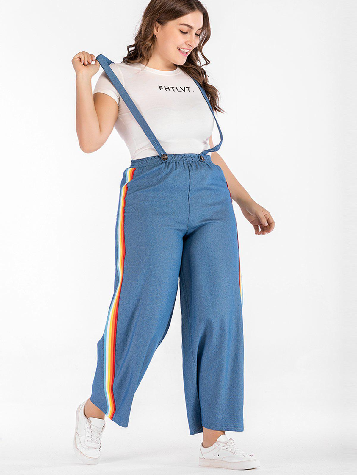 3f42e670e5 66% OFF] Plus Size Wide Leg Suspender Jeans | Rosegal