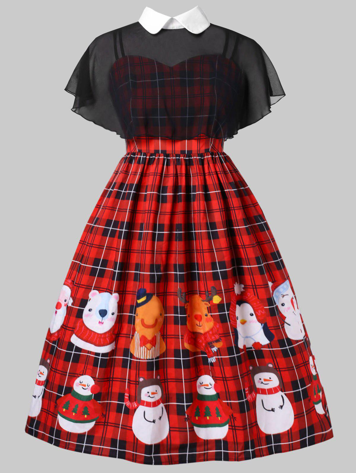 Fashion Plus Size Christmas Print Pin Up Dress With Mesh Cape