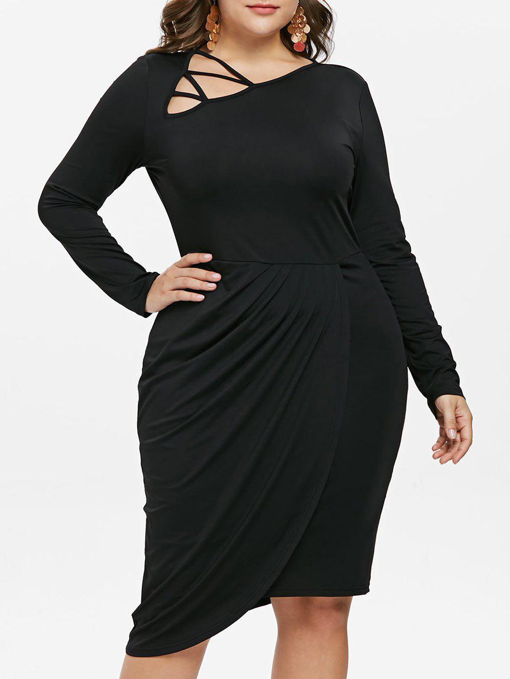 b5cbc9d952a 2019 Plus Size Skew Collar Overlap Dress