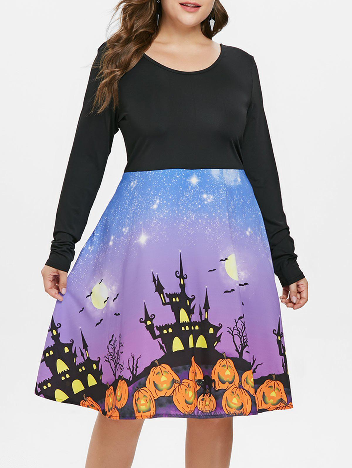Hot Plus Size Pumpkin Halloween Flared Dress