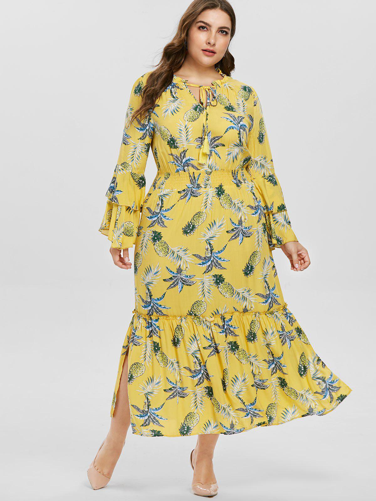 Pineapple Print Plus Size Maxi Dress