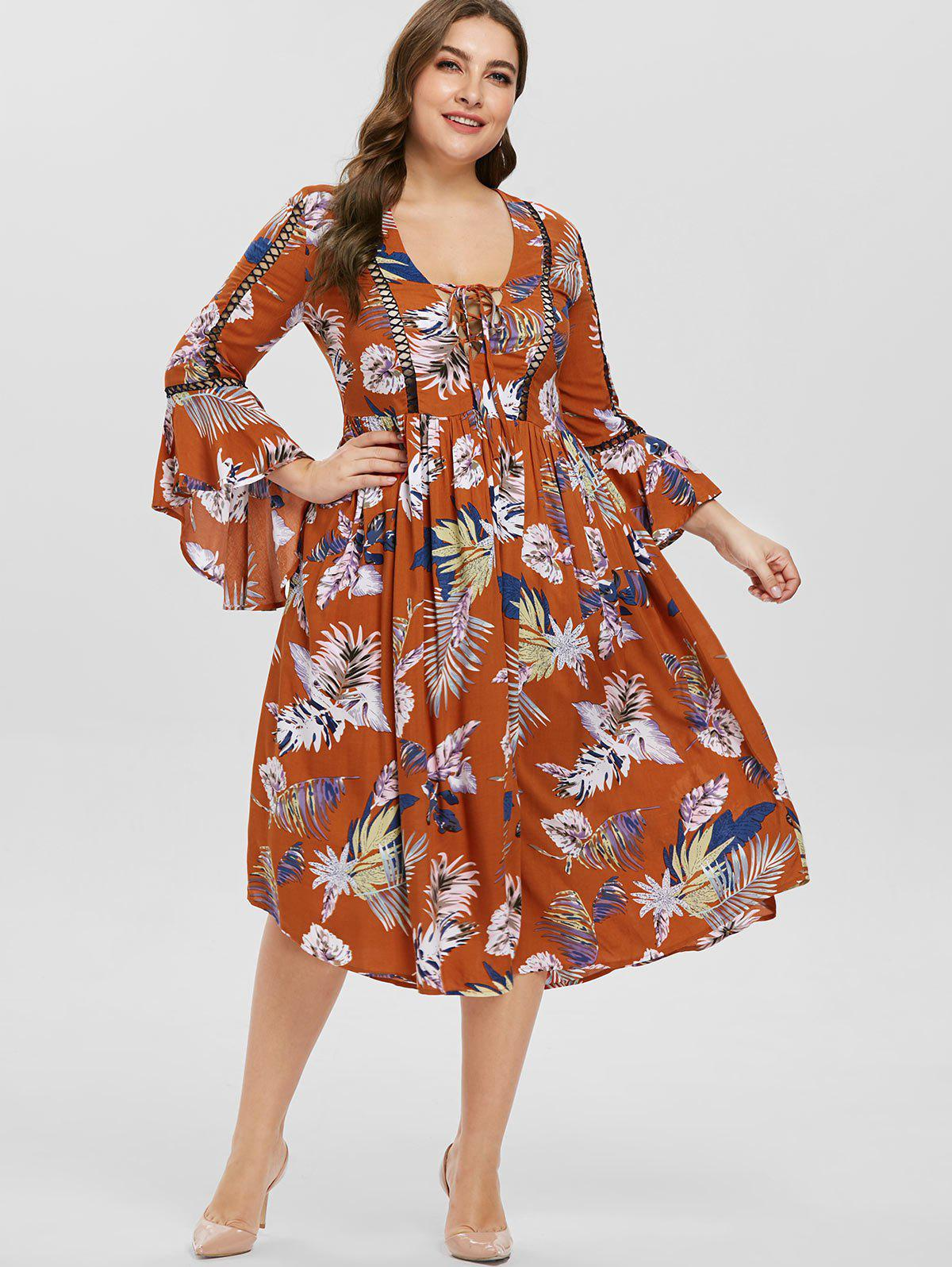 Chic Plus Size Lace-up Printed Bell Sleeve Dress