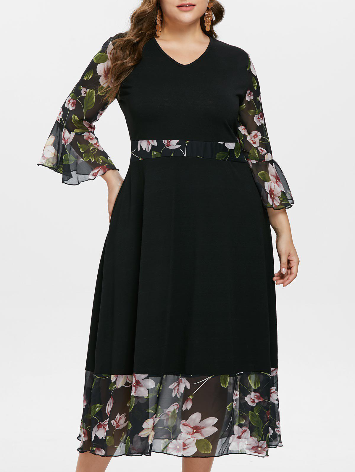 Chic Floral Flare Sleeve Plus Size Maxi Dress