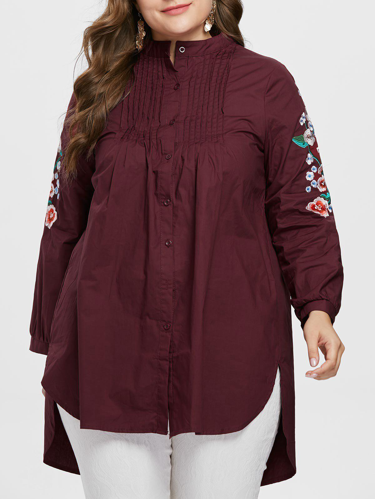 Online Embroidery Sleeve Plus Size Pleated Shirt