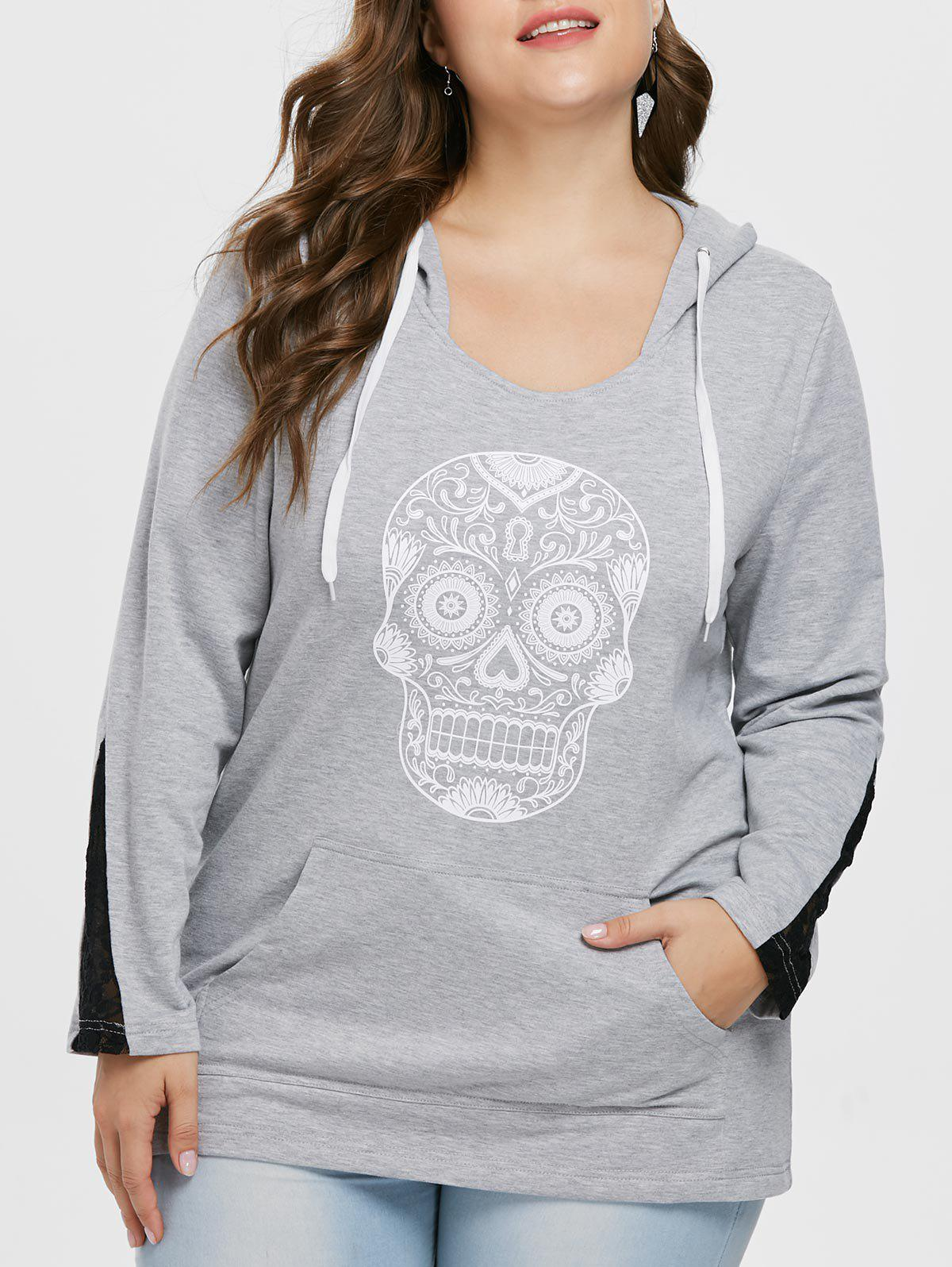 Cheap Plus Size Skull Pattern Hoodie