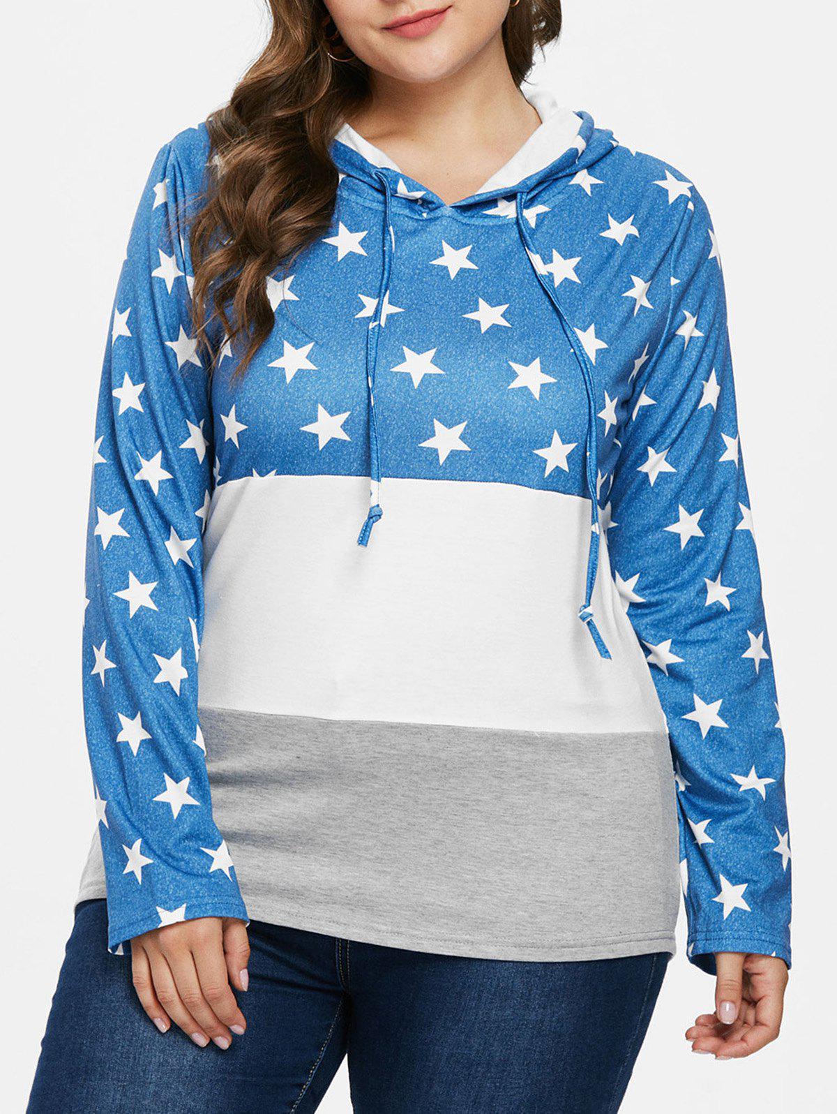 Shops Color Block Plus Size Star Pattern Hoodie