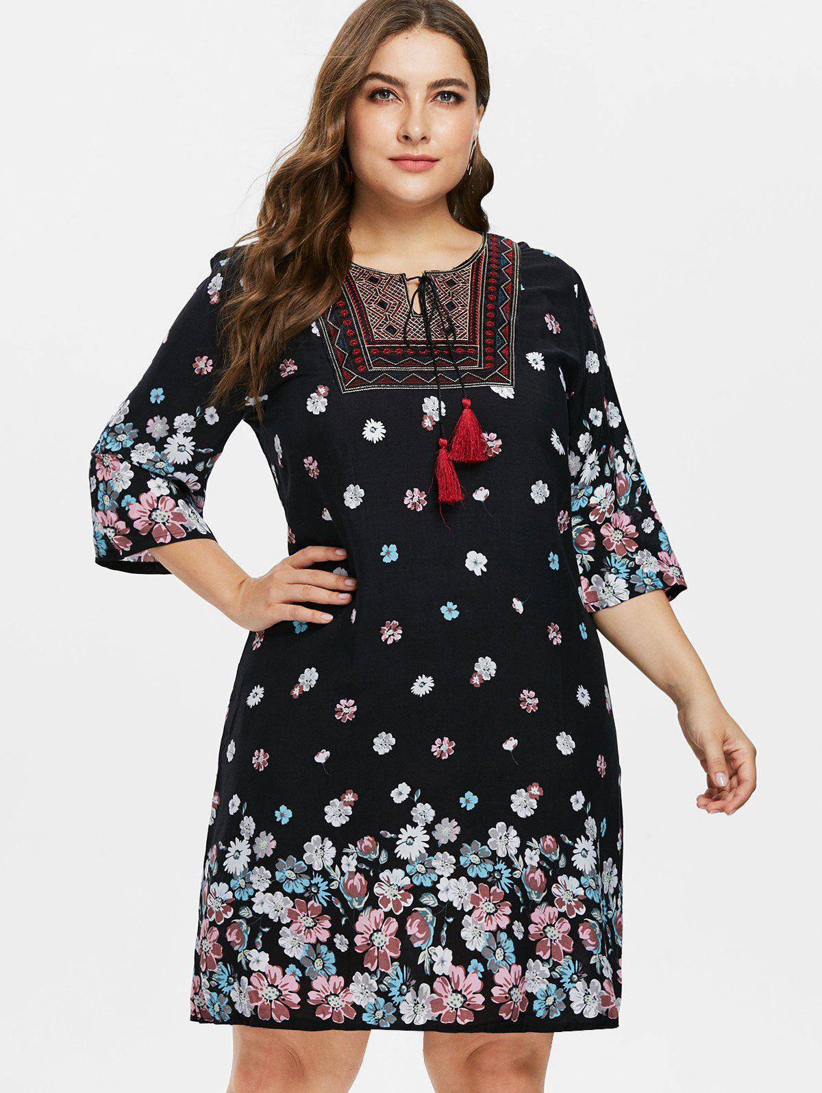 Best Plus Size Keyhole Embroidered Dress