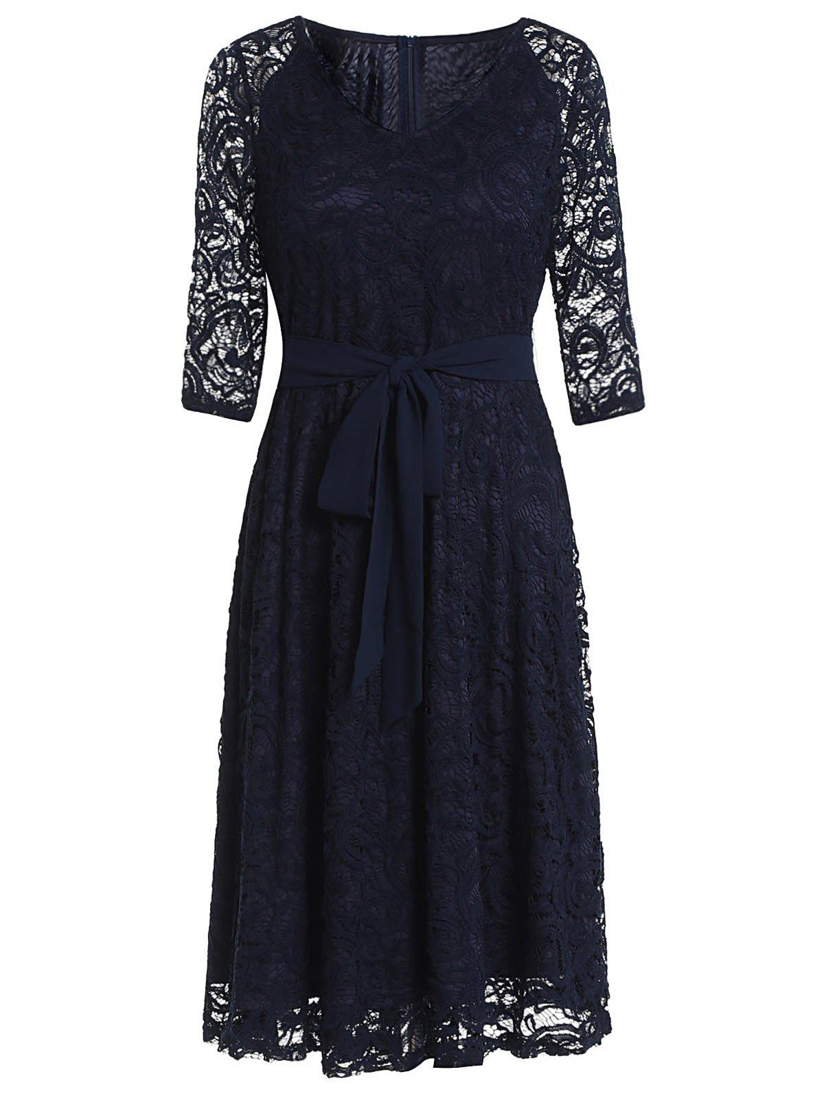 Discount Vintage Lace High Waist Dress