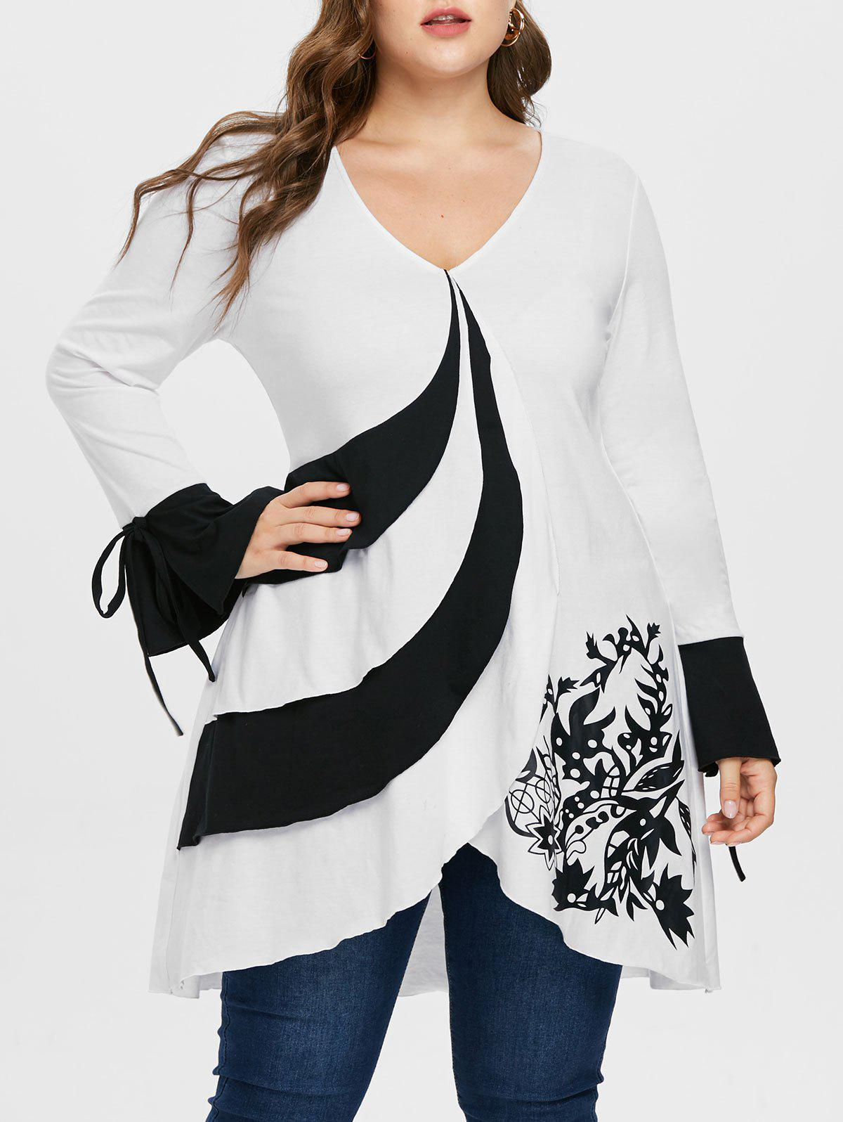 Discount Plus Size Bell Sleeve Overlap T-shirt