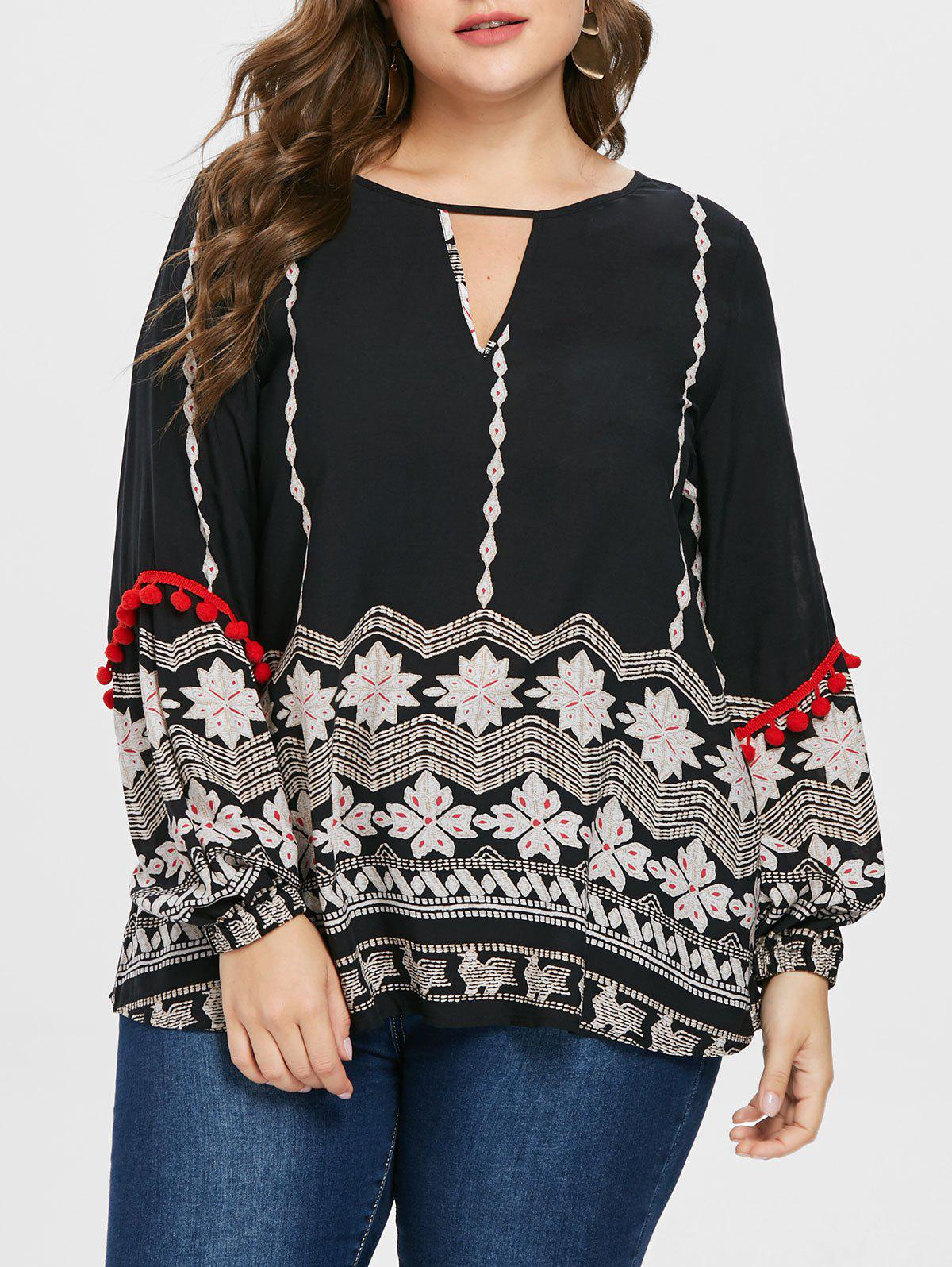 Outfits Keyhole Neck Plus Size Printed Blouse