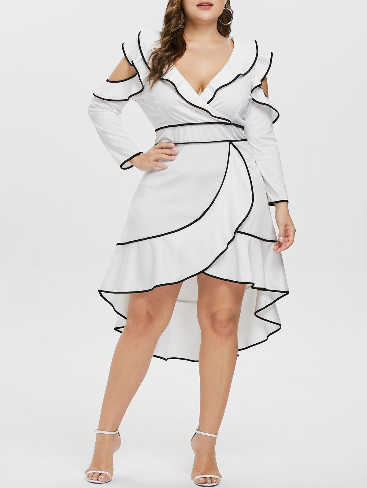 Shops Plus Size V Neck Ruffle High Low Dress