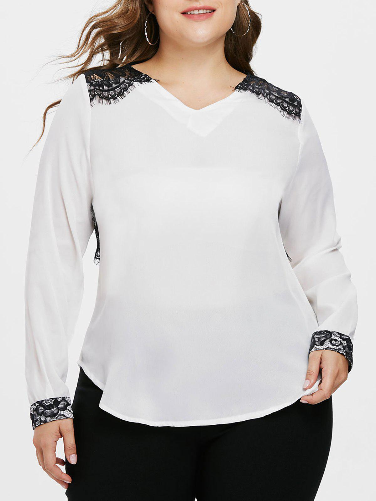Sale Plus Size V Neck Lace Eyelash Blouse