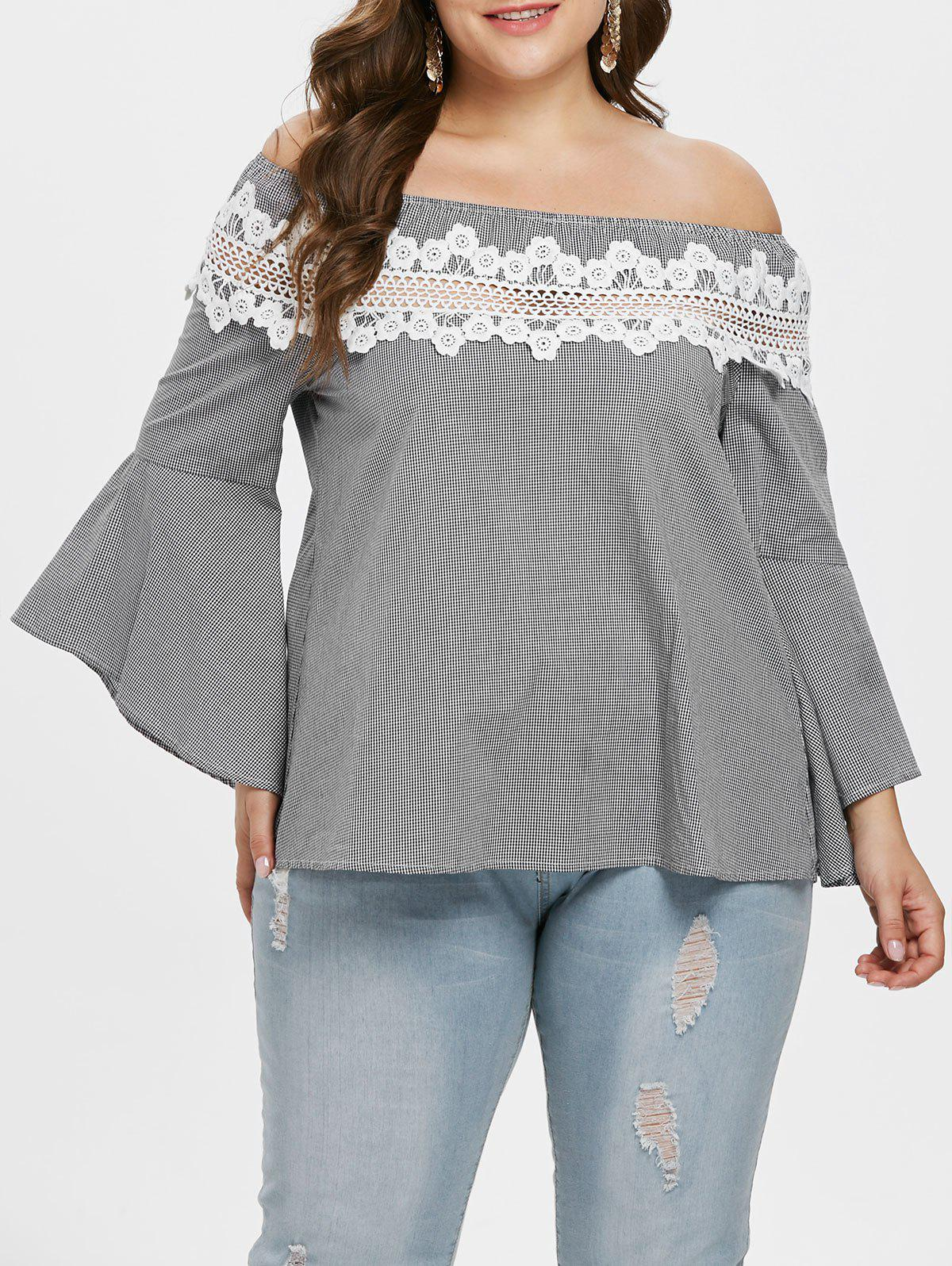 Discount Plus Size Lace Insert Checked Flare Sleeve Blouse