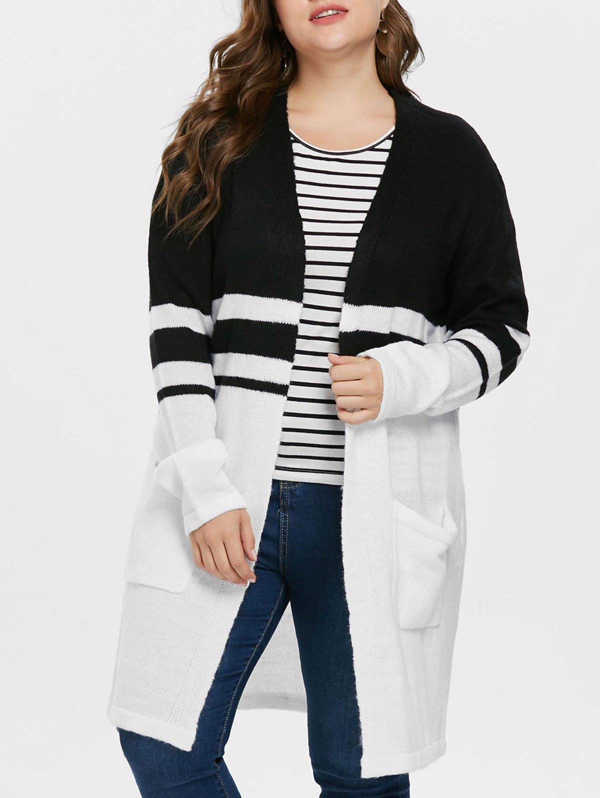 Best Striped Panel Plus Size Collarless Cardigan