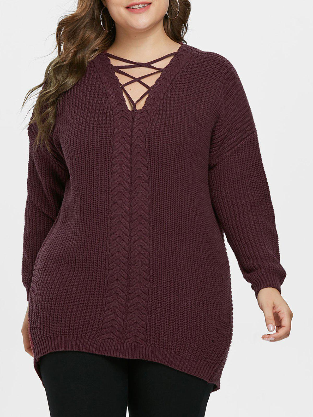 Cheap Criss Cross Plus Size Pullover Sweater