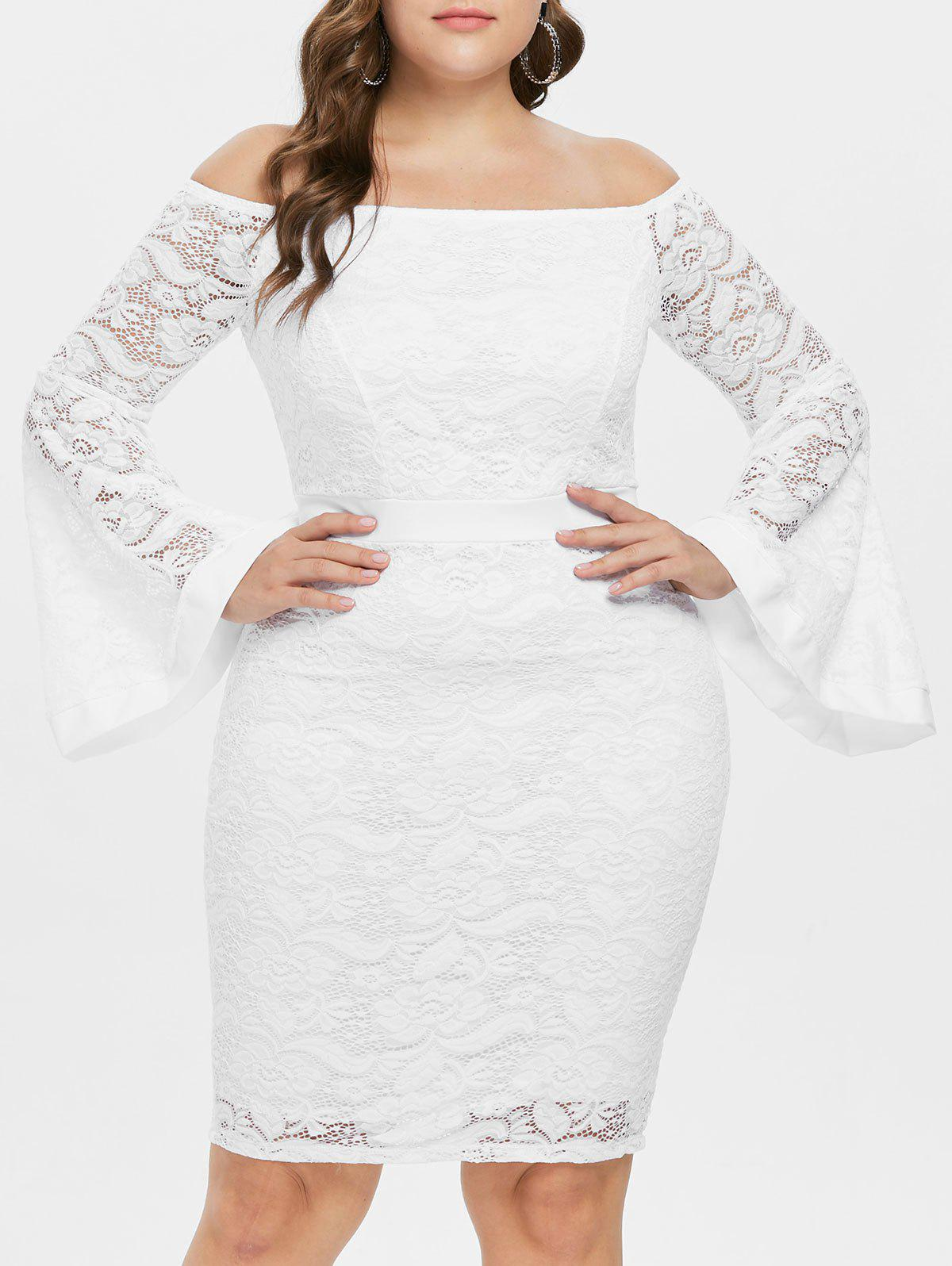 Hot Off The Shoulder Plus Size Lace Bodycon Dress