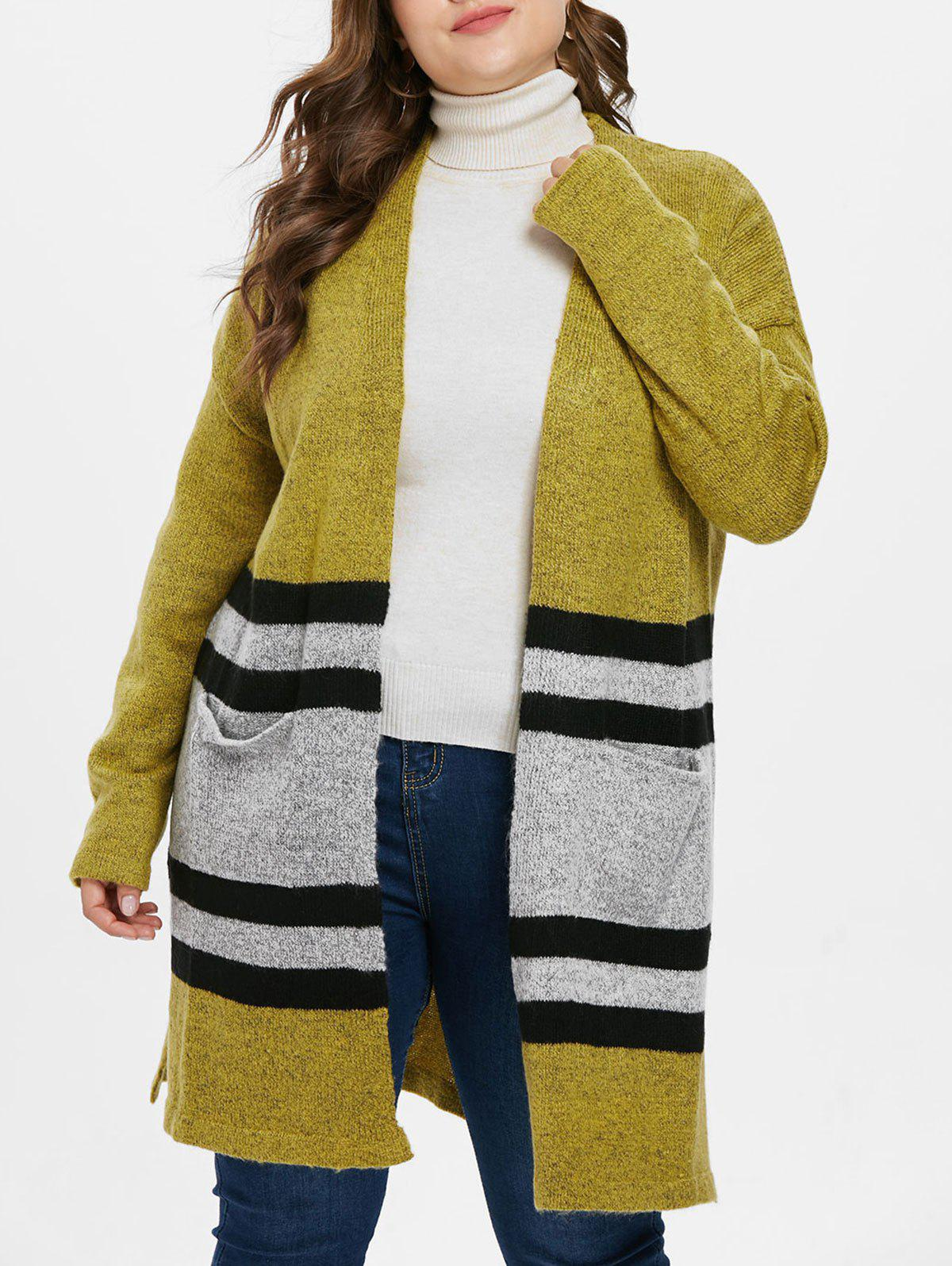 Shops Striped Panel Plus Size Collarless Cardigan