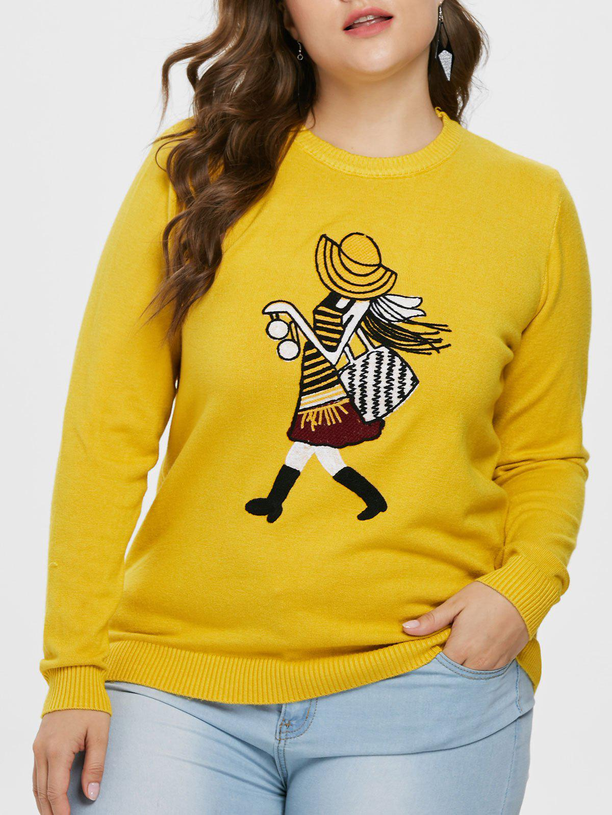 Cheap Plus Size Graphic Slim Fit Sweater