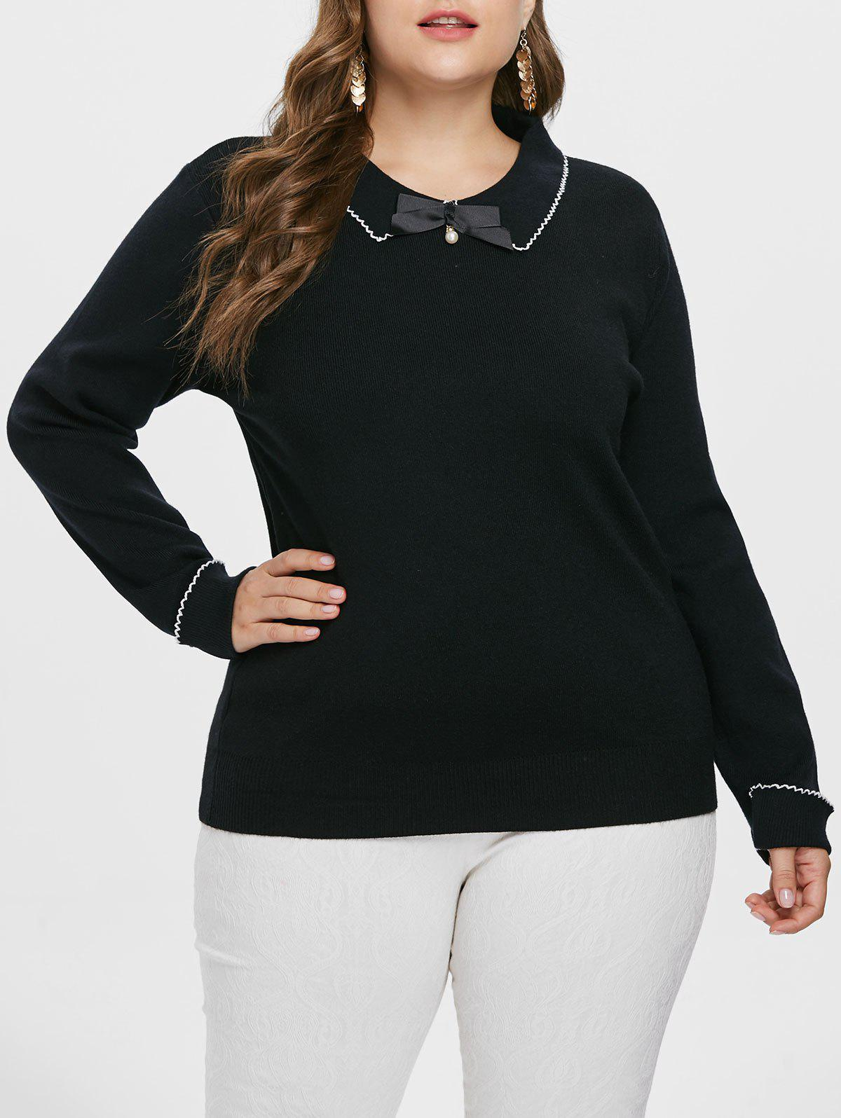 4f13daef8ae 2019 Plus Size Peter Pan Collar Sweater