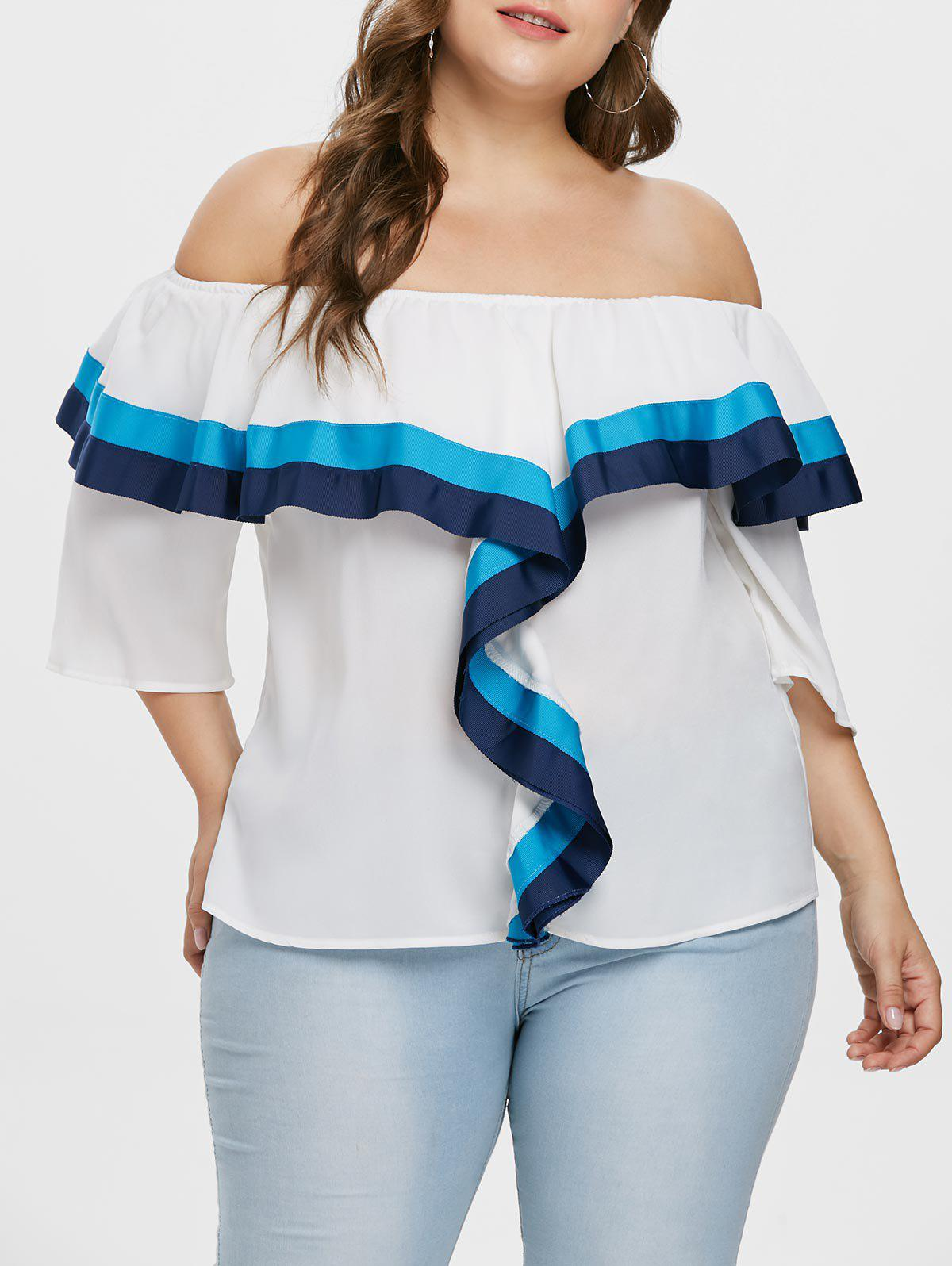 Store Off The Shoulder Plus Size Ruffle Blouse