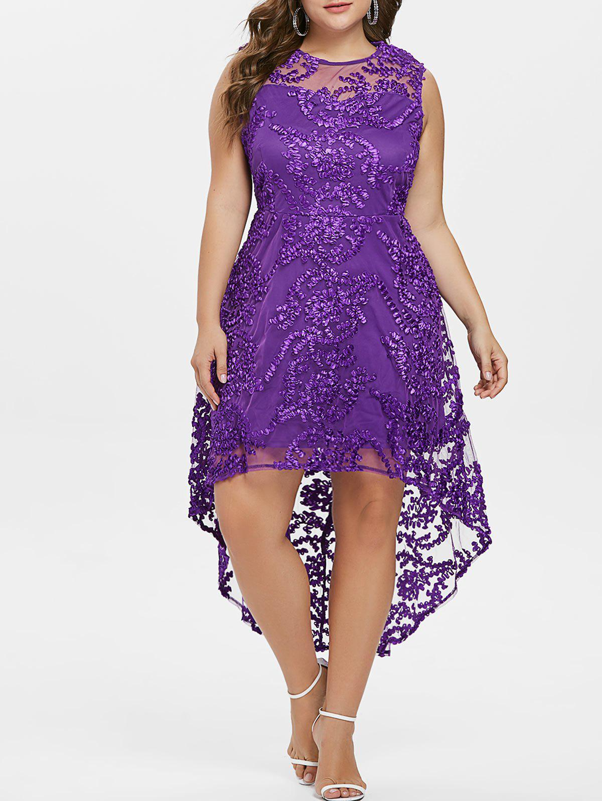 Trendy Plus Size Lace Overlay Party Dress