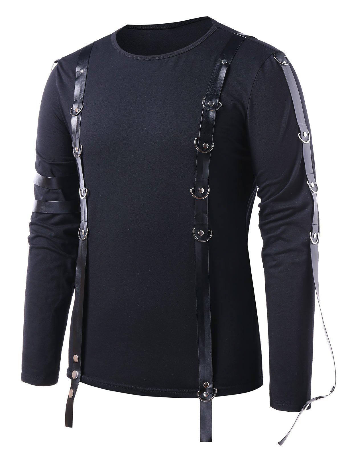 Shops PU Leather Strap Long Sleeve T-shirt